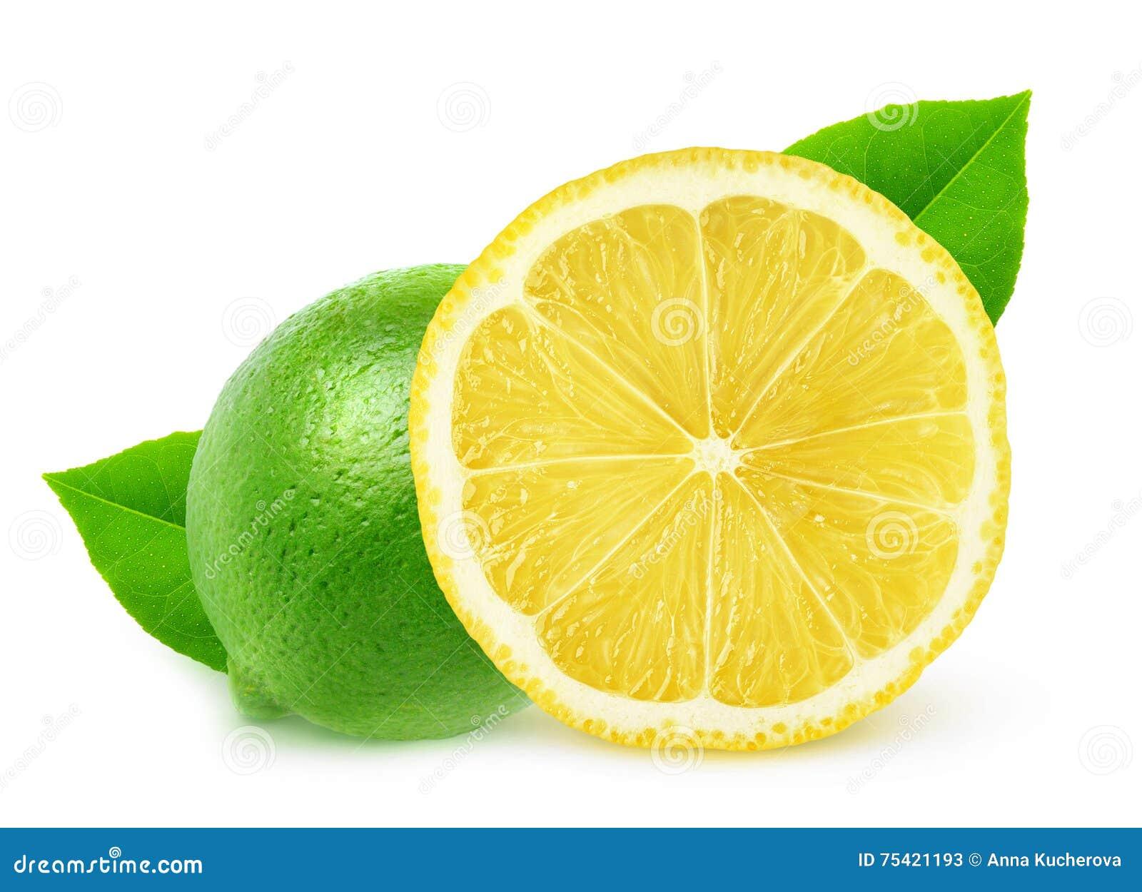Isolerad citron och limefrukt