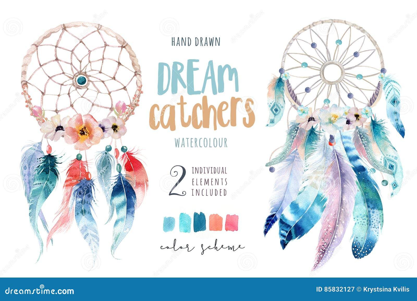 Isolerad dreamcatcher för vattenfärggarneringbohem Boho