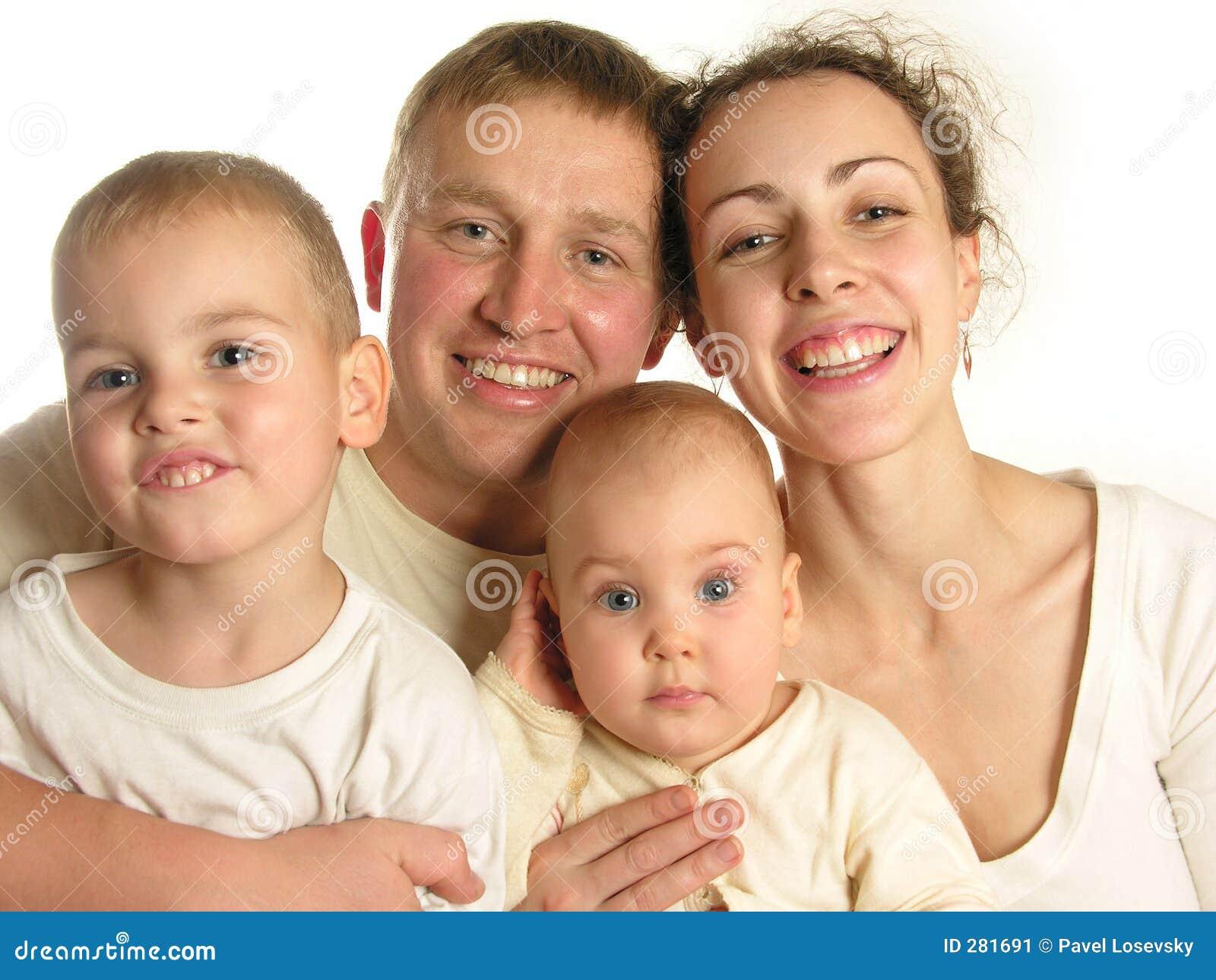 Isolerad familj fyra för 2 framsidor