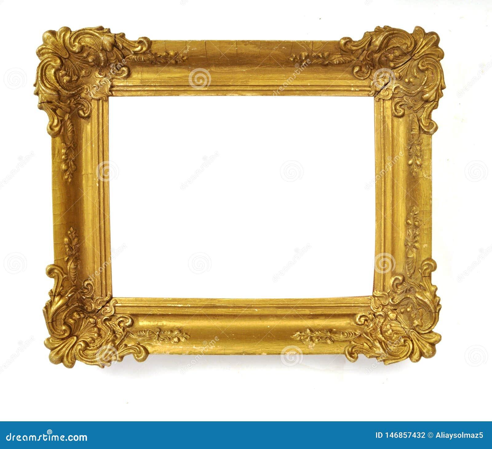 Isolerad fotoram, liten guld- antik fotoram, tappningram