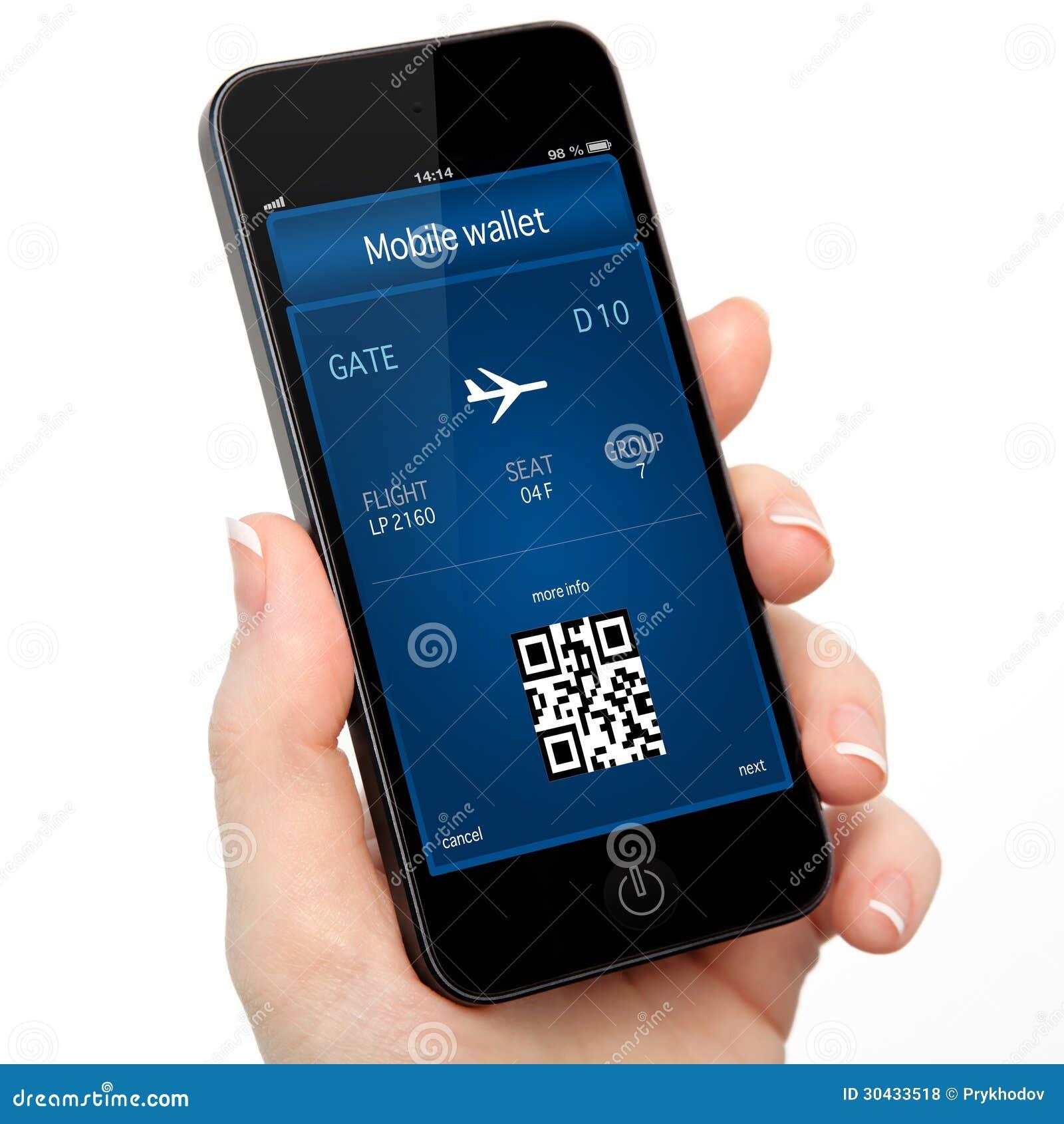 Isolerad kvinnahand som rymmer telefonen med en mobilt plånbok och p