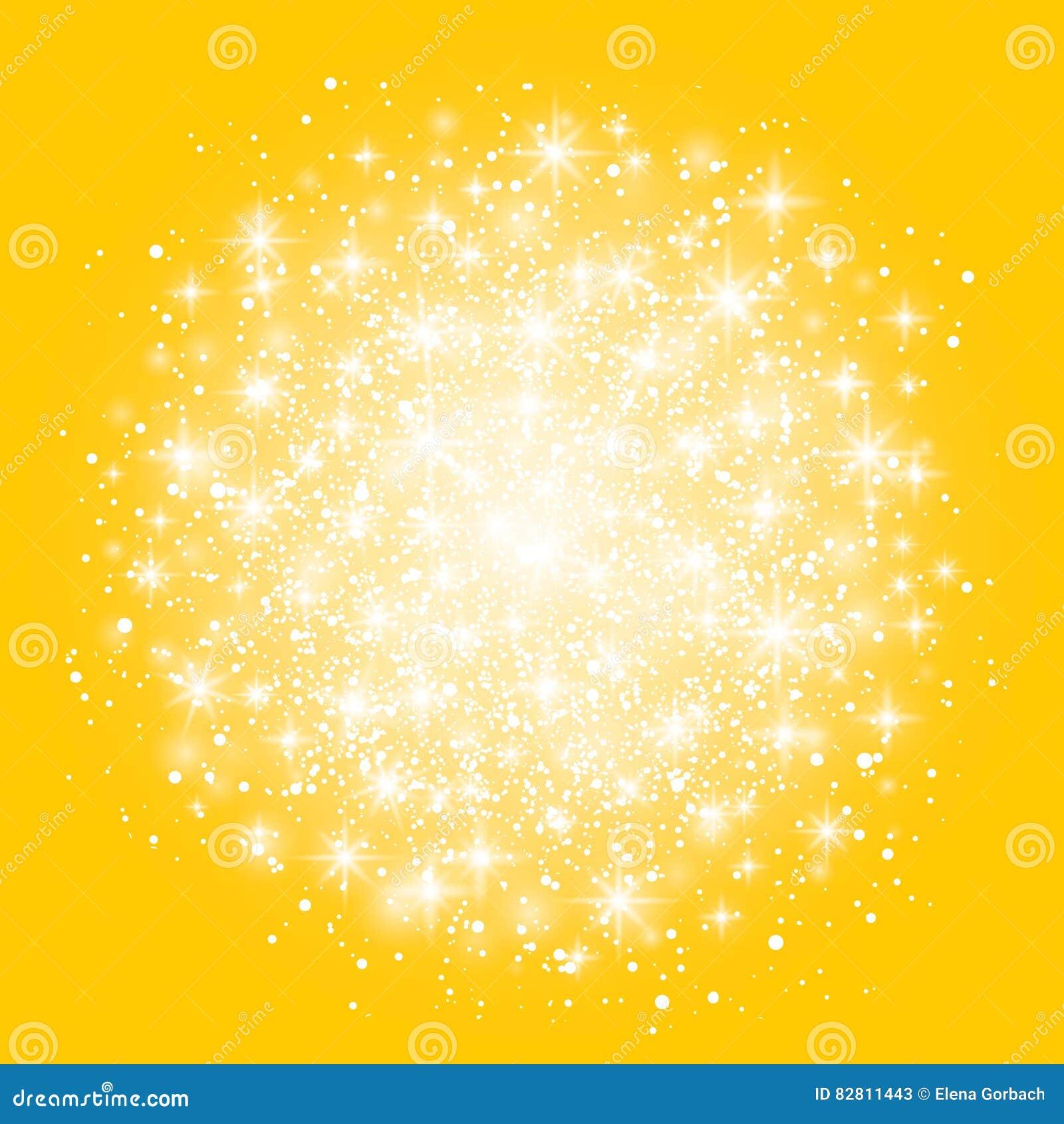 Isolerad ljus effekt för glöd på gul bakgrund också vektor för coreldrawillustration Jul exponerar begrepp Stjärnabristningen med