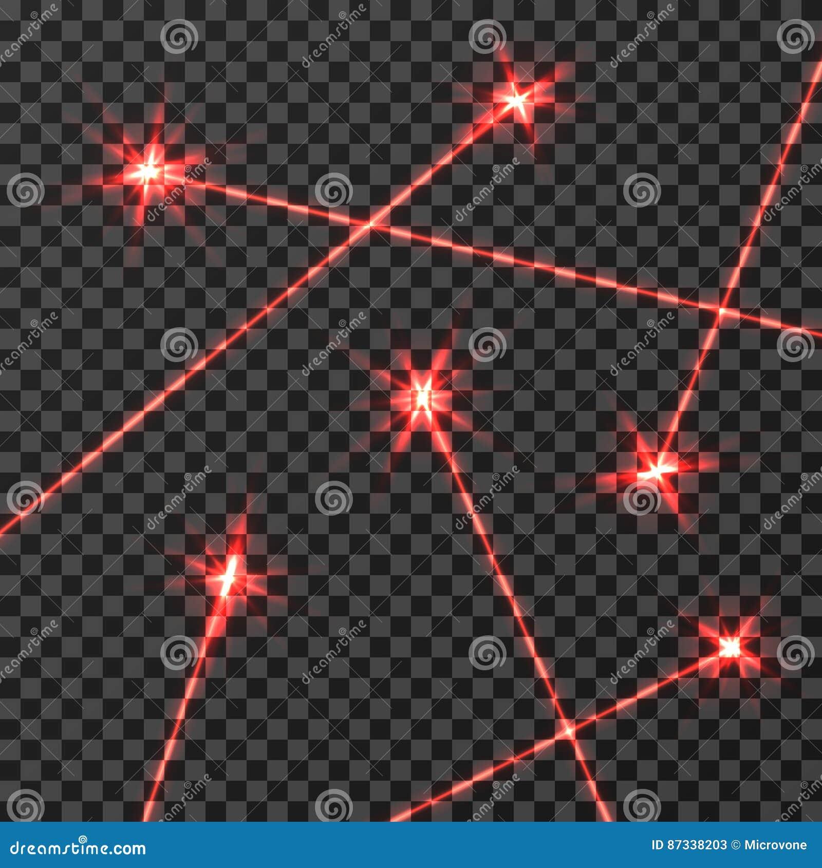 Isolerad ljus effekt för röd laserstrålevektor på genomskinlig rutig bakgrund