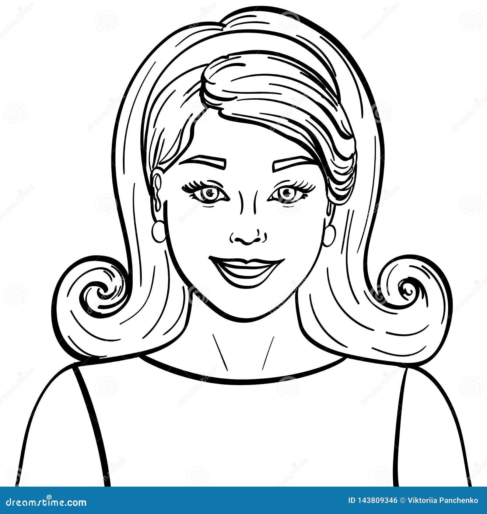 Isolerad objektfärgläggning, svarta linjer, vit bakgrund Flicka för brunett för modemodell härlig Retro frisyr som utformar