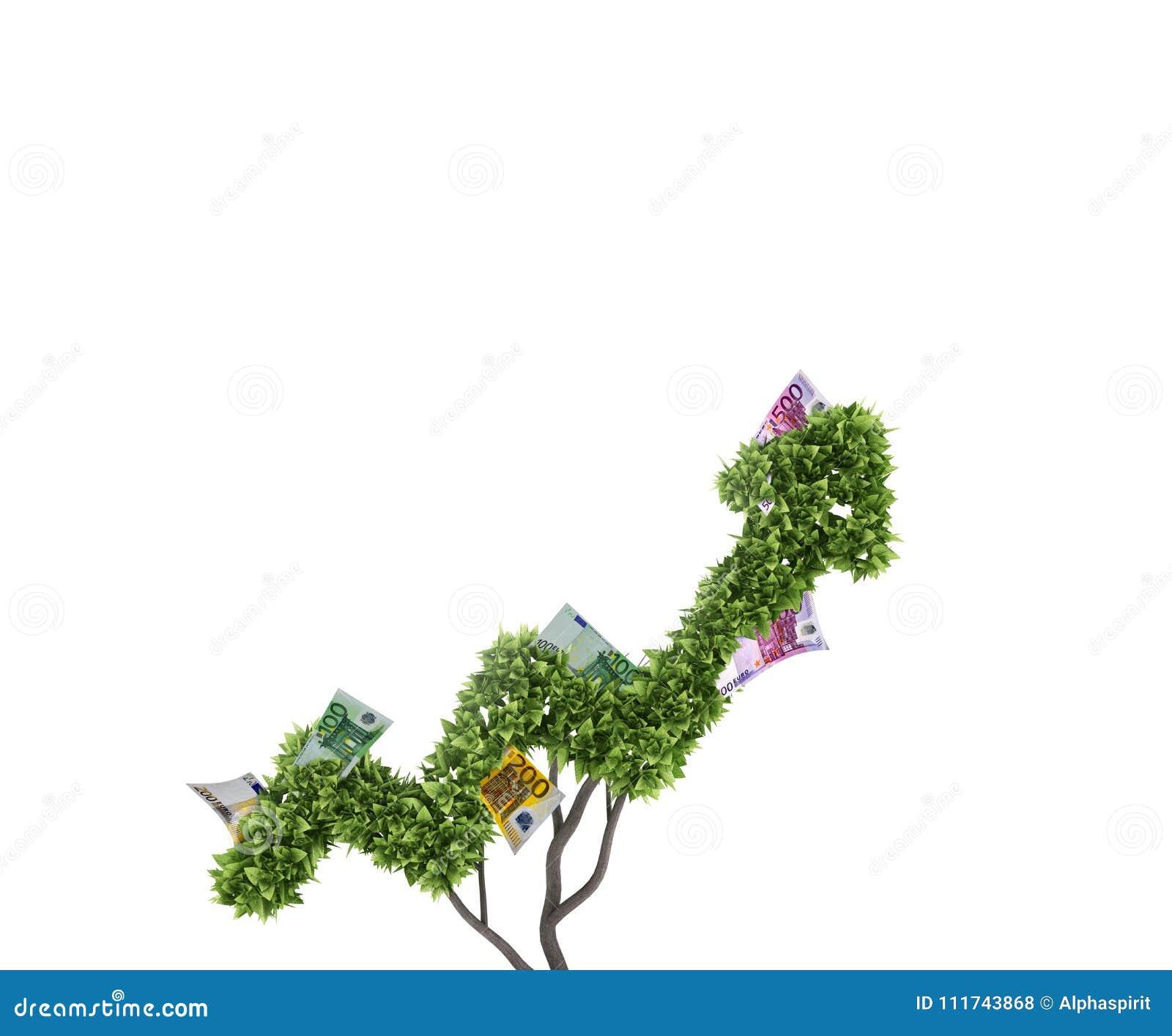 Isolerad pengartreewhite Begrepp av tillväxt och förbättring framförande 3d