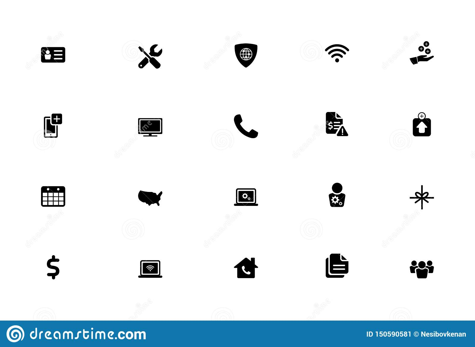 Isolerad plan symbolsuppsättning för vektor, nätverkande, bankrörelse, finanssymboler