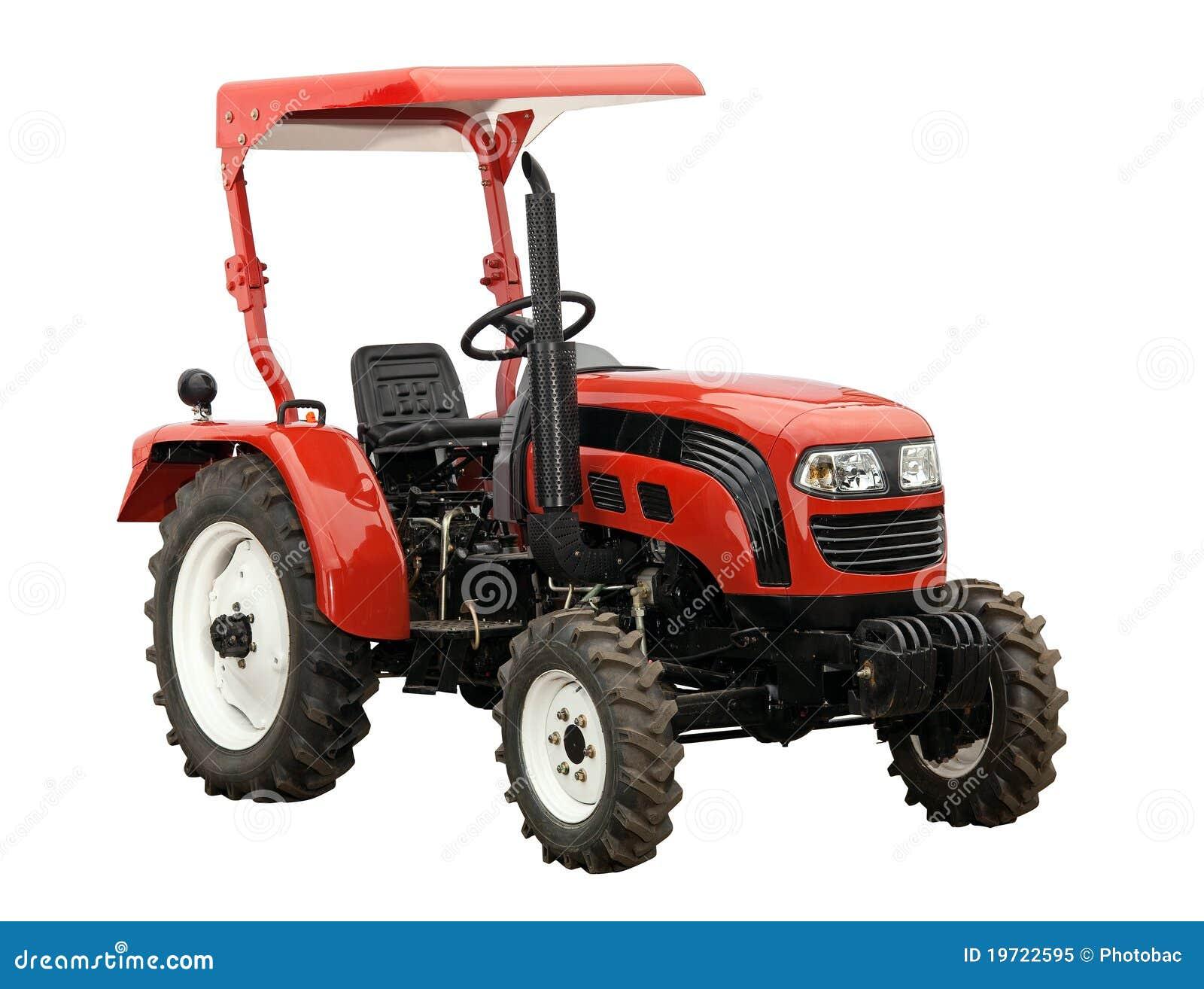 Isolerad röd traktorwhite för ny over bana