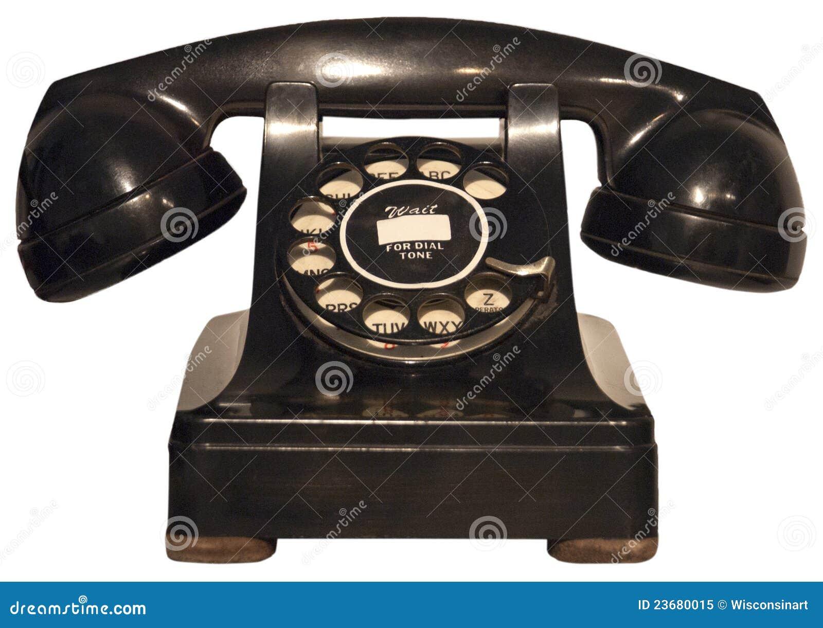 Isolerad retro roterande telefontappning för gammal telefon