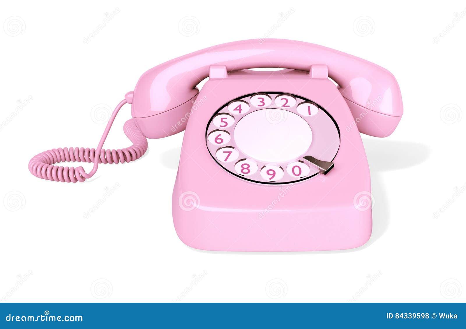 Isolerad rosa roterande telefon