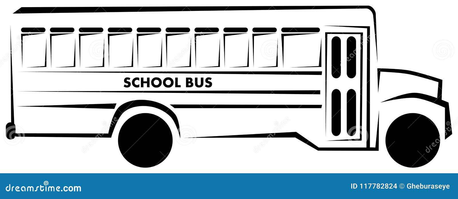 Isolerad stiliserad skolbuss i svartvitt
