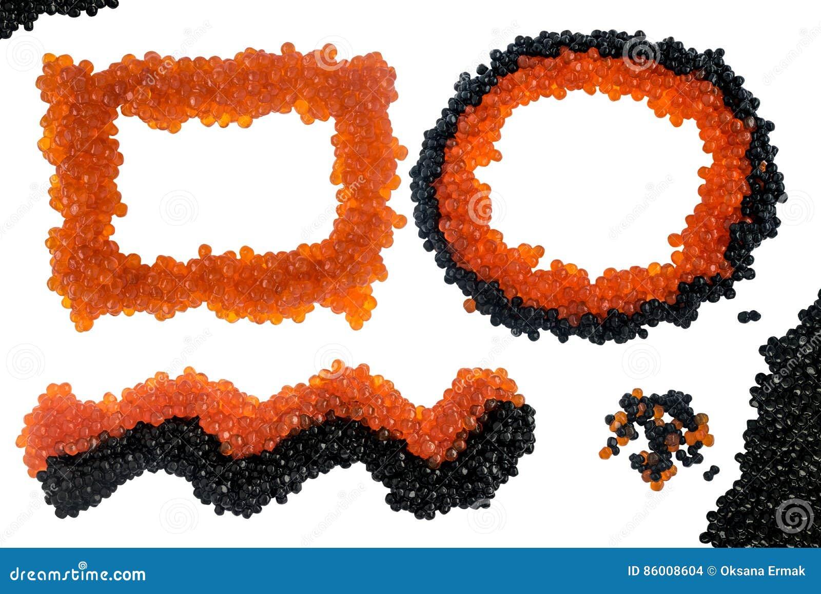 Isolerad svart och röd kaviar Top beskådar