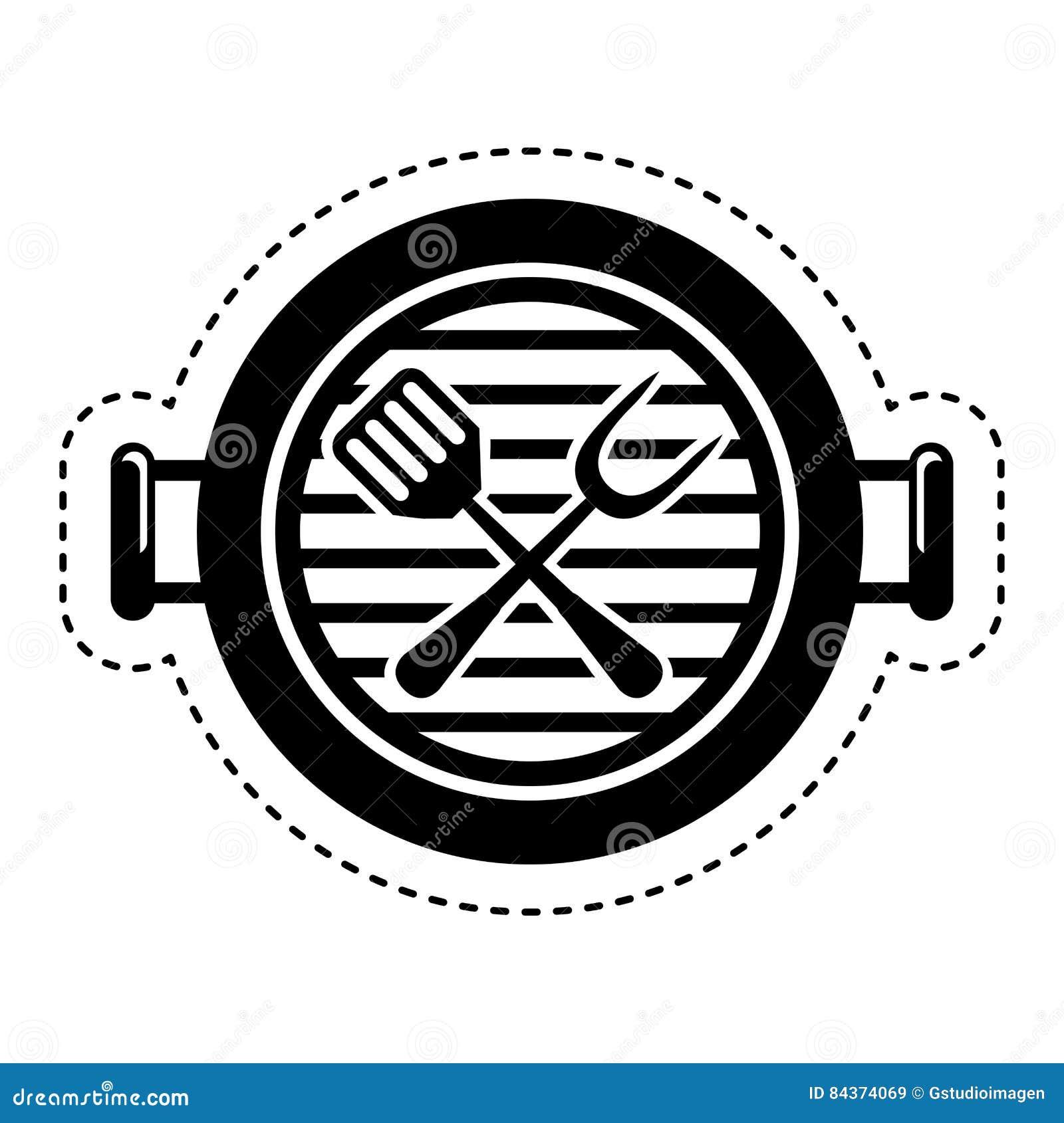 Isolerad symbol för galler bbq