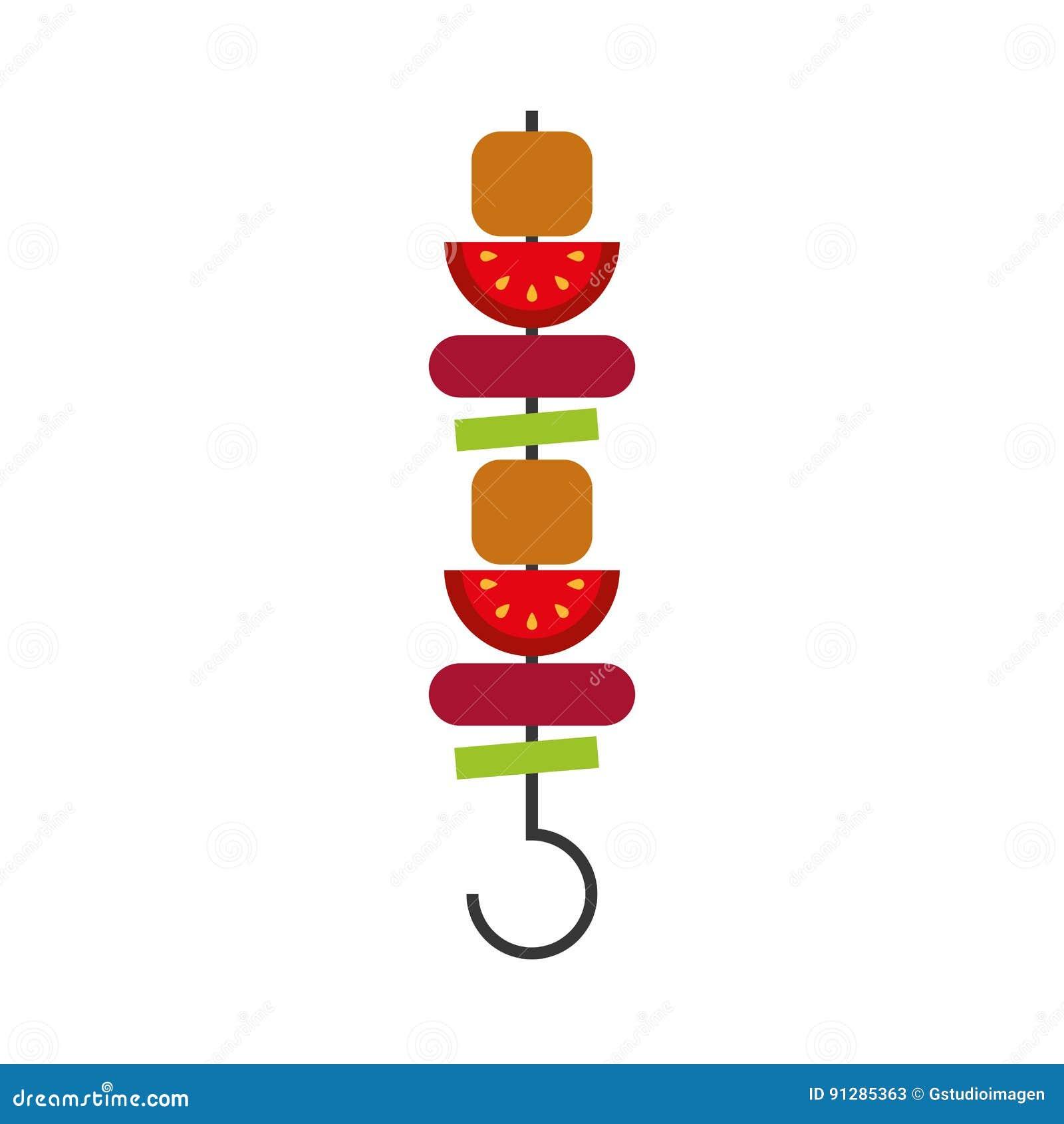 Isolerad symbol för kött pinne