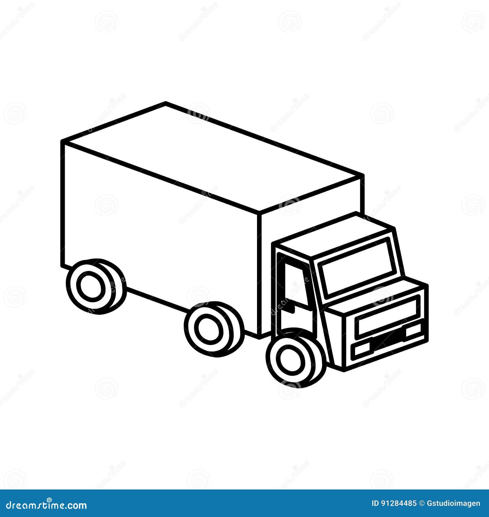 Isolerad symbol för lastbil medel