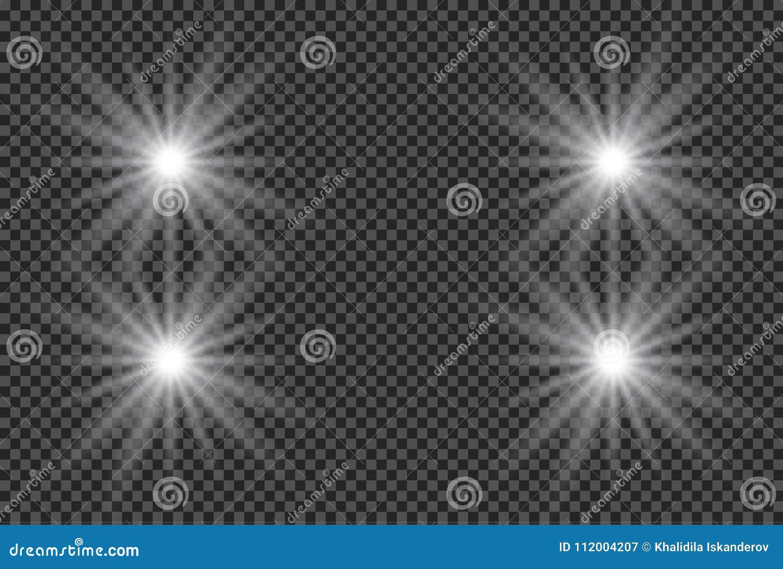 Isolerad uppsättning av guld- glödande ljuseffekter på genomskinlig bakgrund Solexponering med strålar och strålkastaren Ljus eff