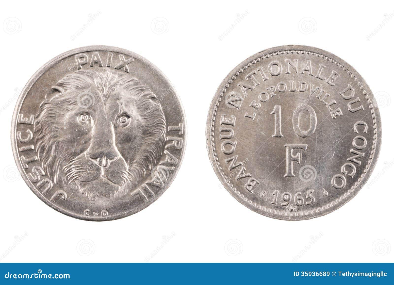 Isolerade Belgian Congo 10 Franc Coin