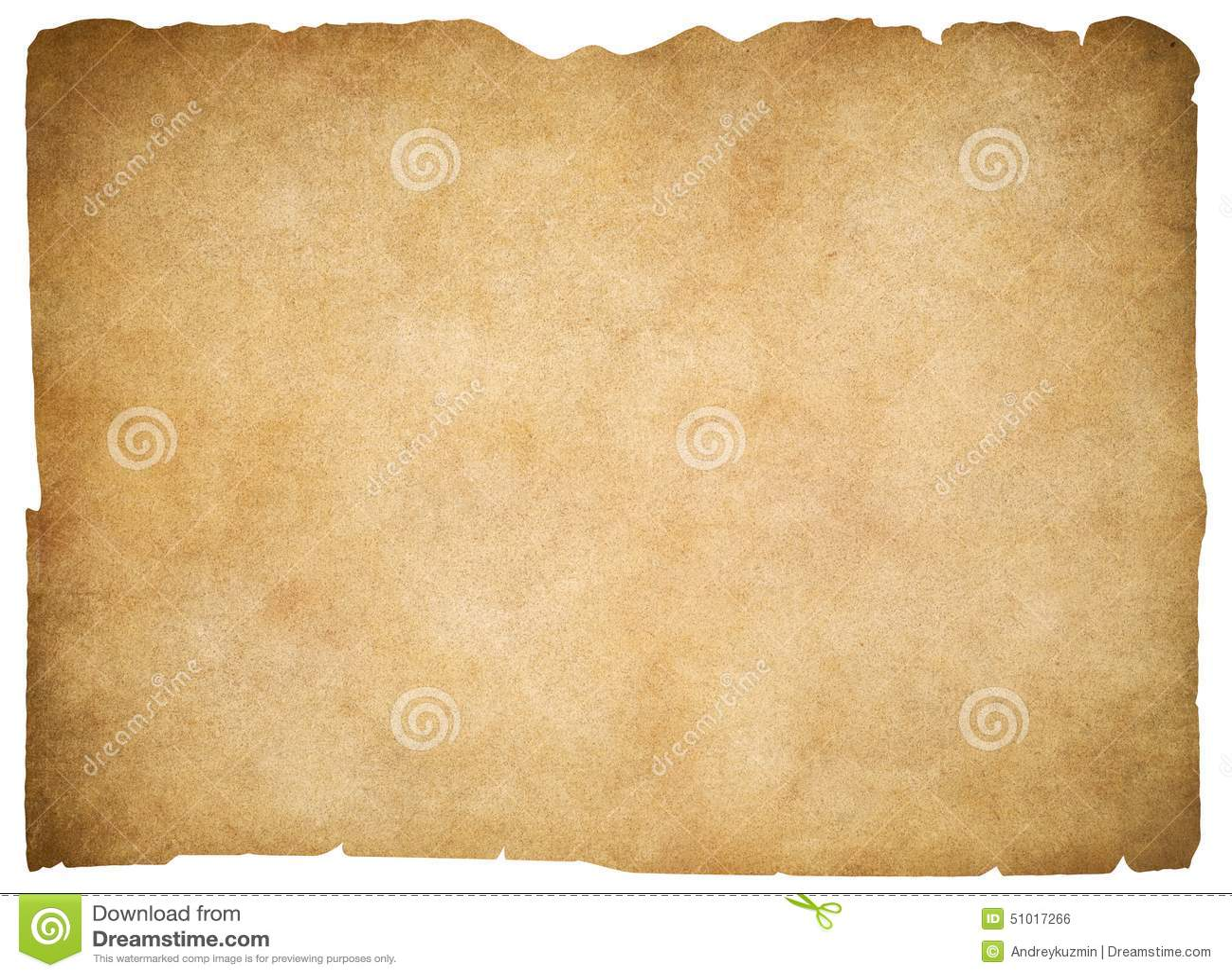 Isolerade gammalt tomt pergament eller papper clipping