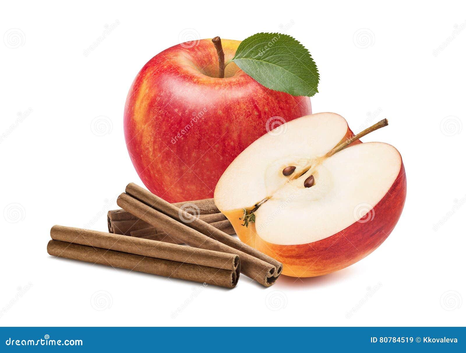 Isolerade halva kanelbruna pinnar för nytt rött äpple