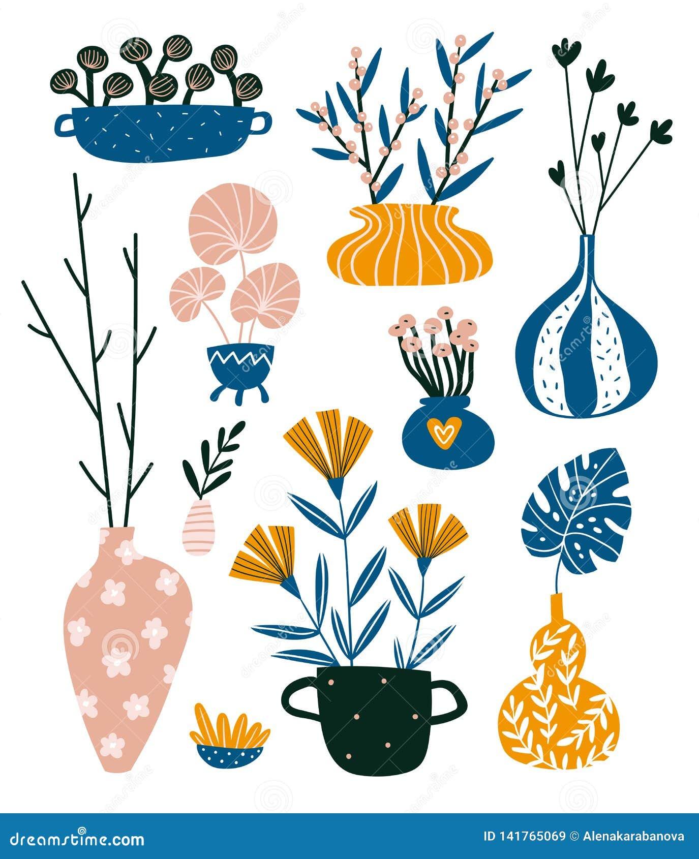 Isolerade hem- dekorbest?ndsdelar i utdragen stil f?r hand Scandinavian inredesign f?r vektor Inlagda blommor och vaser med filia