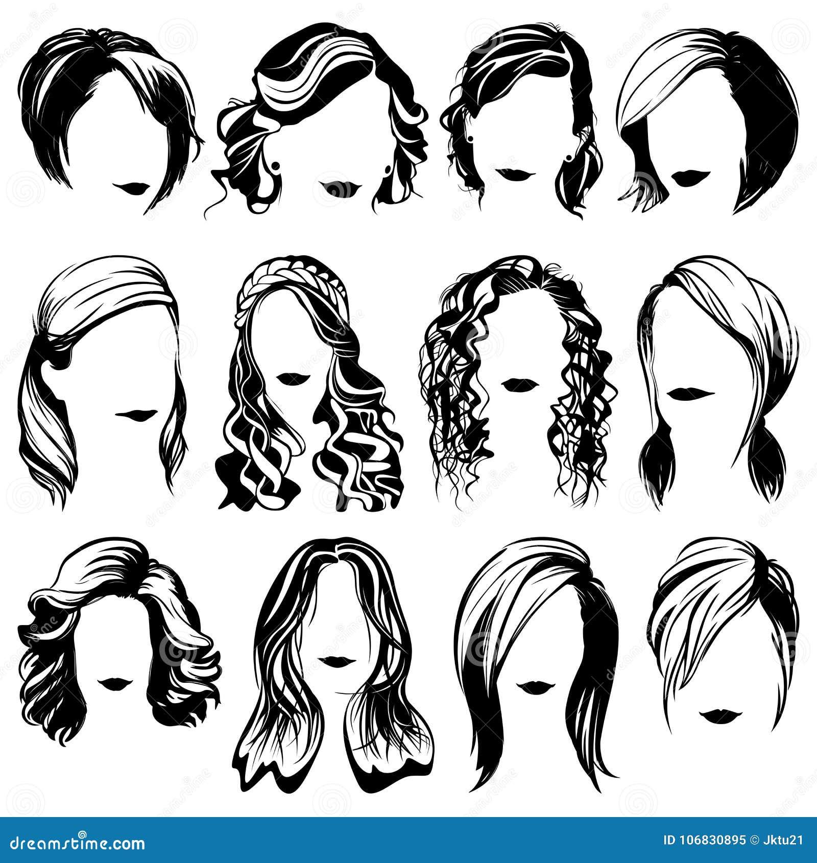 Isolerade konturer för vektorkvinnamode frisyr