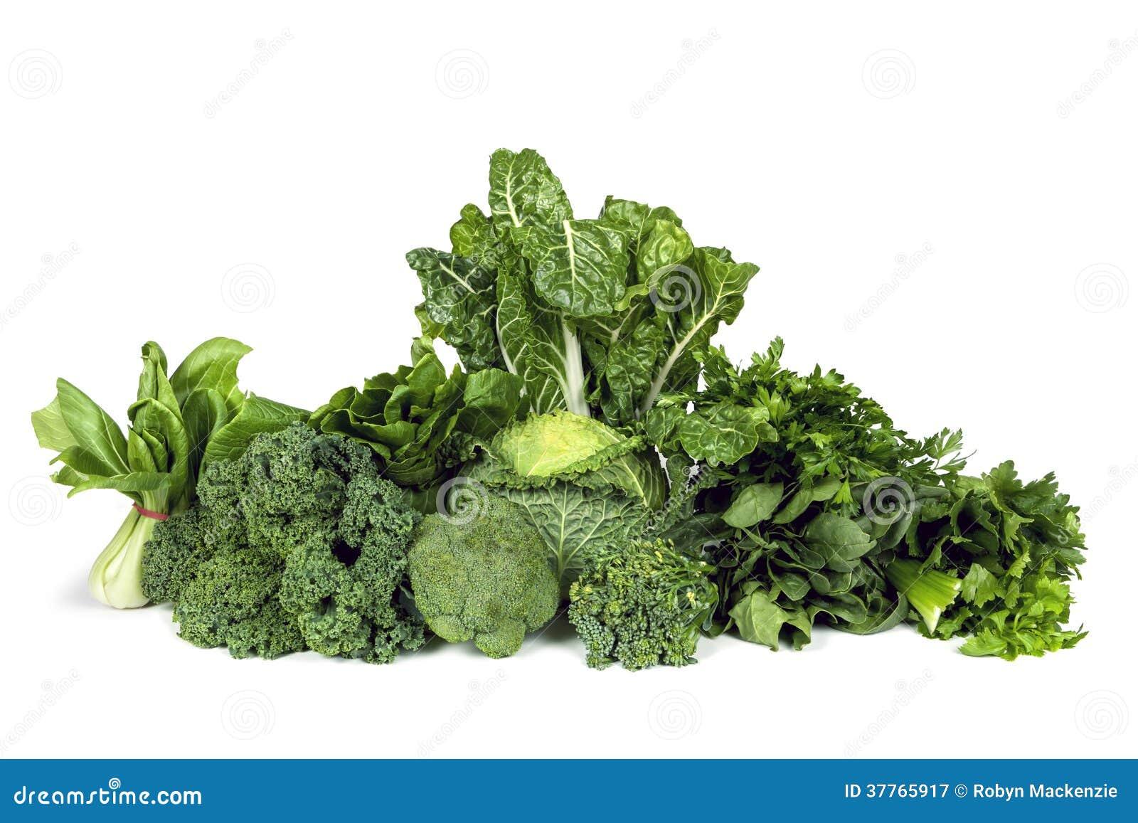 Isolerade lövrika gröna grönsaker