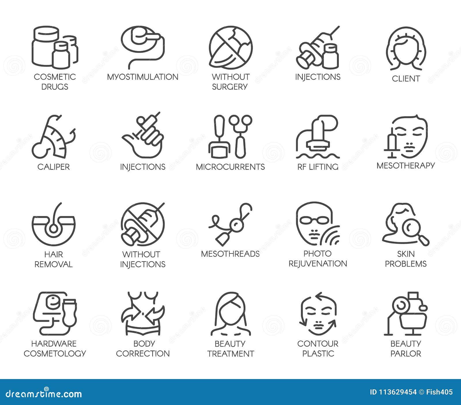 20 isolerade symboler på cosmetologytema Skönhetterapi, medicin, sjukvård, linjär symbolsc för wellnessbehandling
