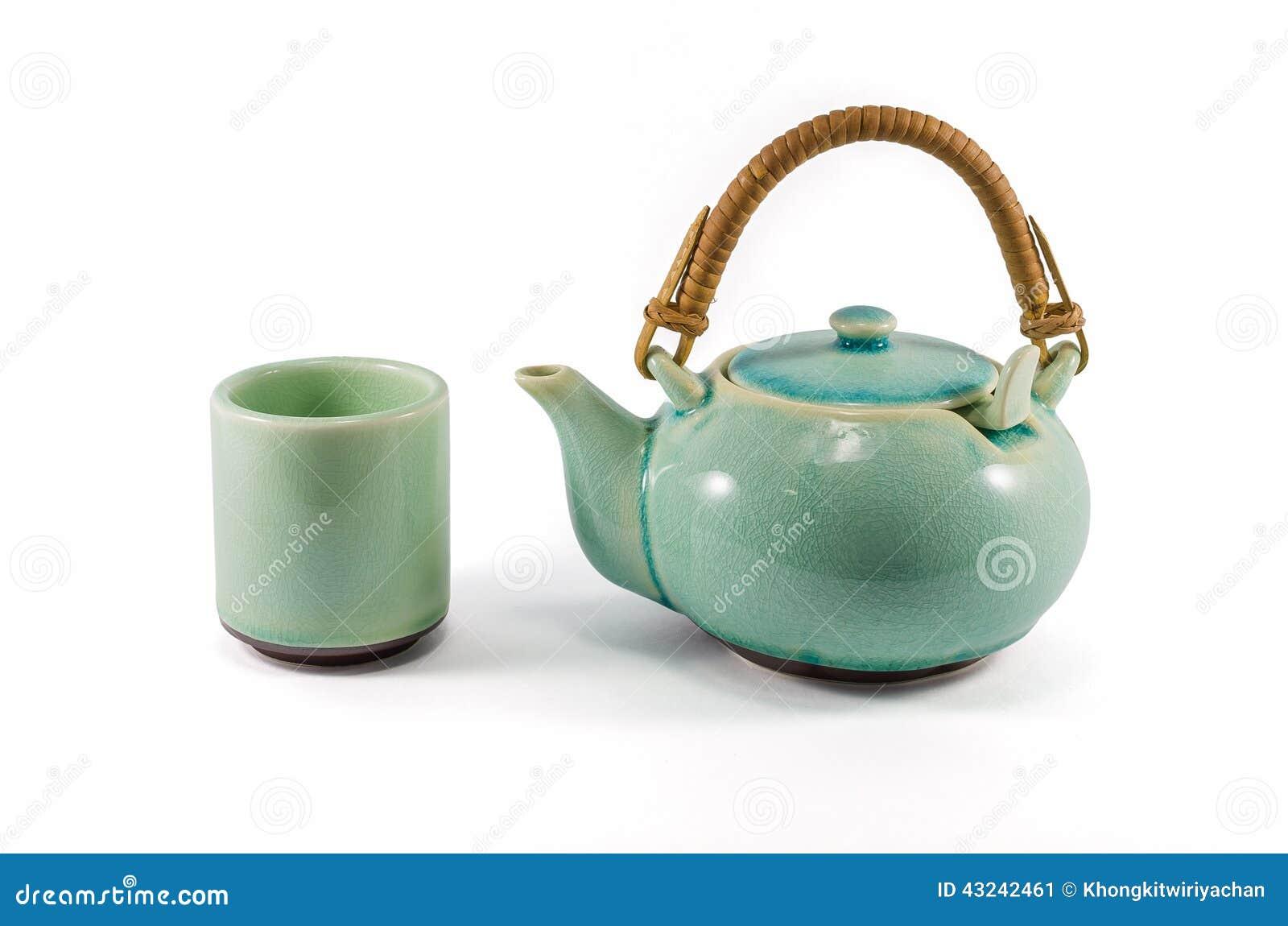 Isolerade tekanna och tekopp för kines grön