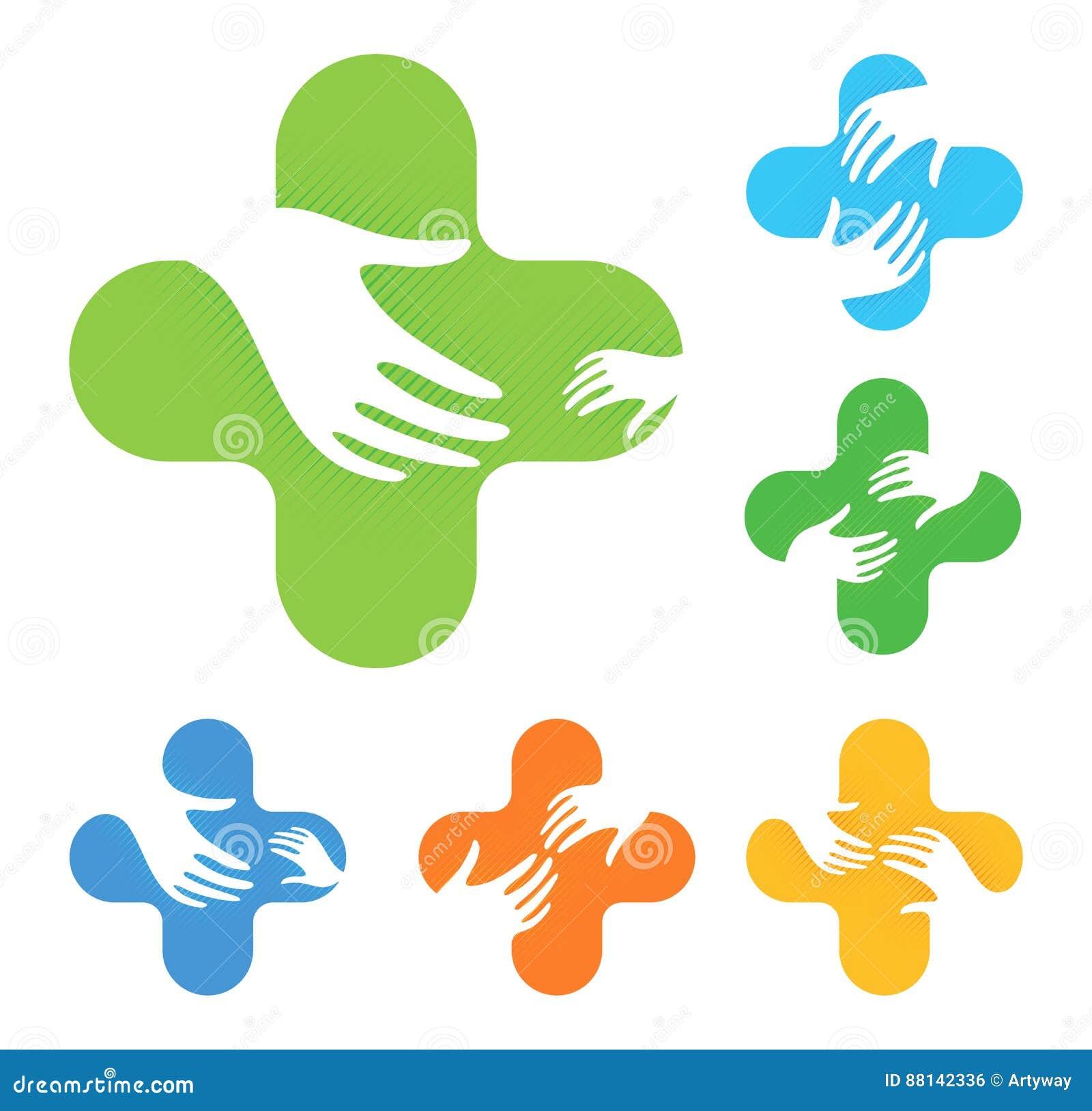 Isolerat abstrakt färgrikt kors med två händer som når sig på logouppsättning, medicinsk beståndsdellogotypsamling