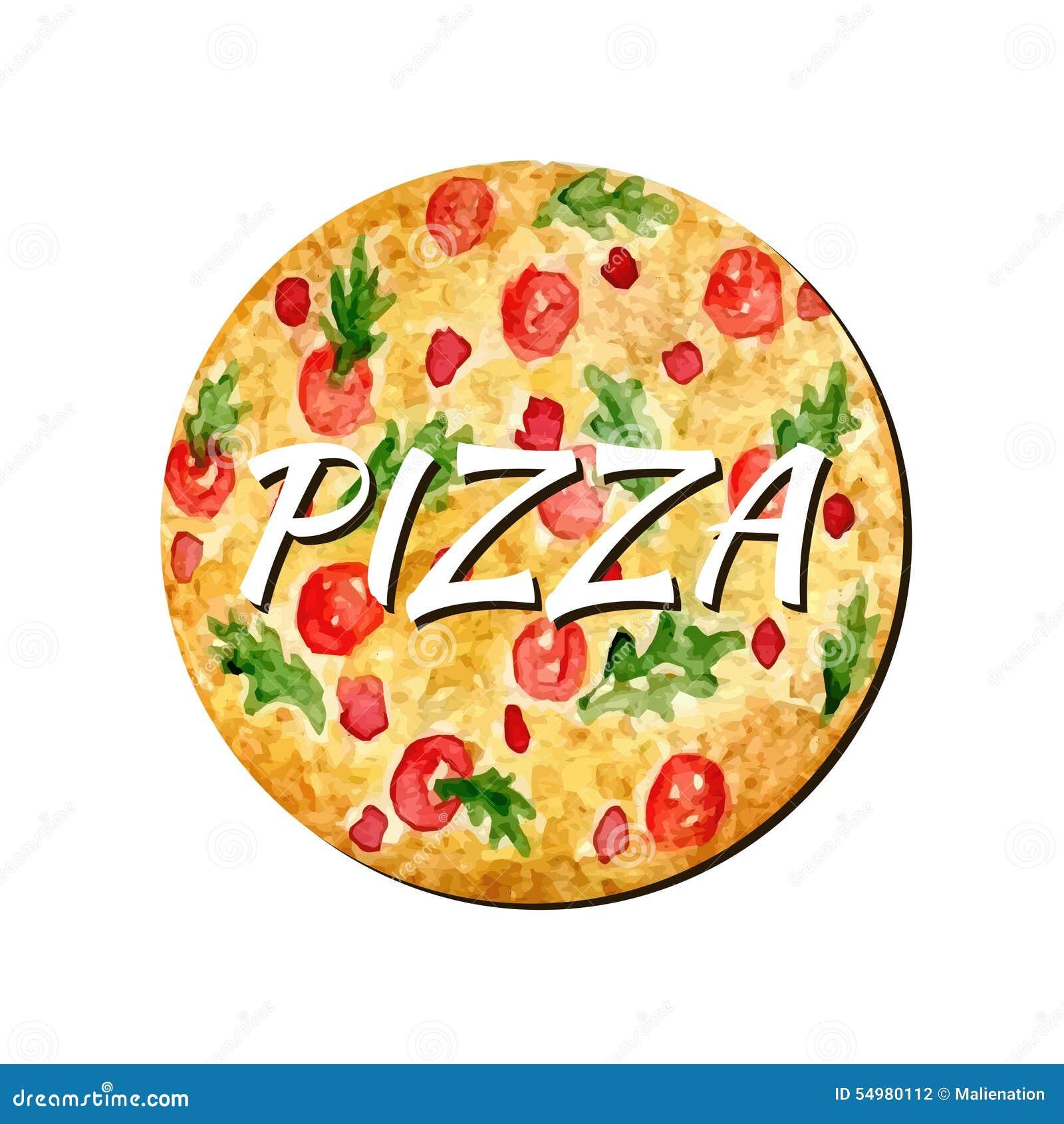 Isolerat konstverk för vattenfärg pizza Illustration för handmålarfärgvektor Vattenfärgen kan användas för klistermärke, avatar,