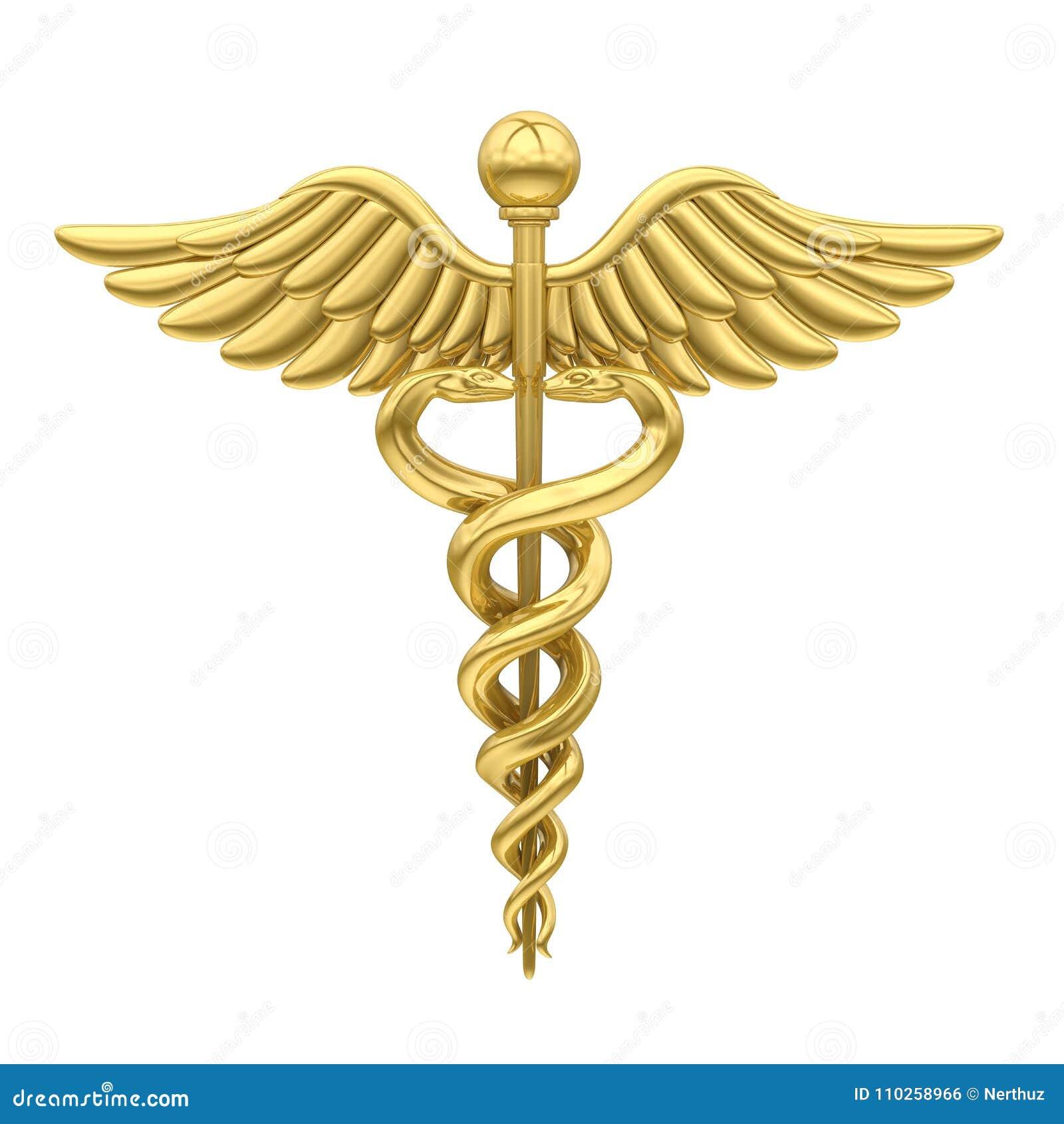 Isolerat medicinskt symbol för Caduceus