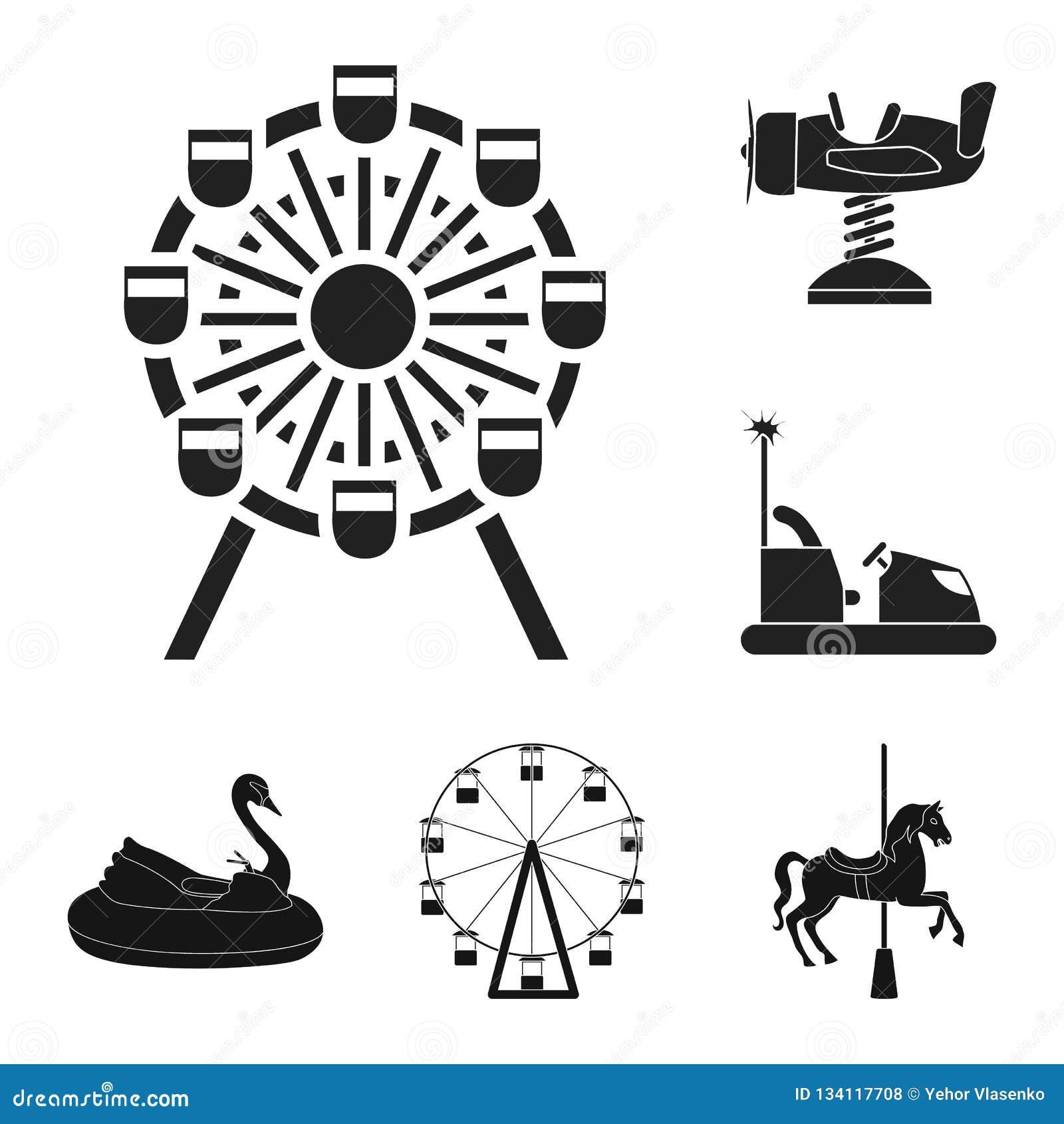 Isolerat objekt av gyckel och hästtecknet Ställ in av gyckel- och för cirkusmaterielvektor illustration