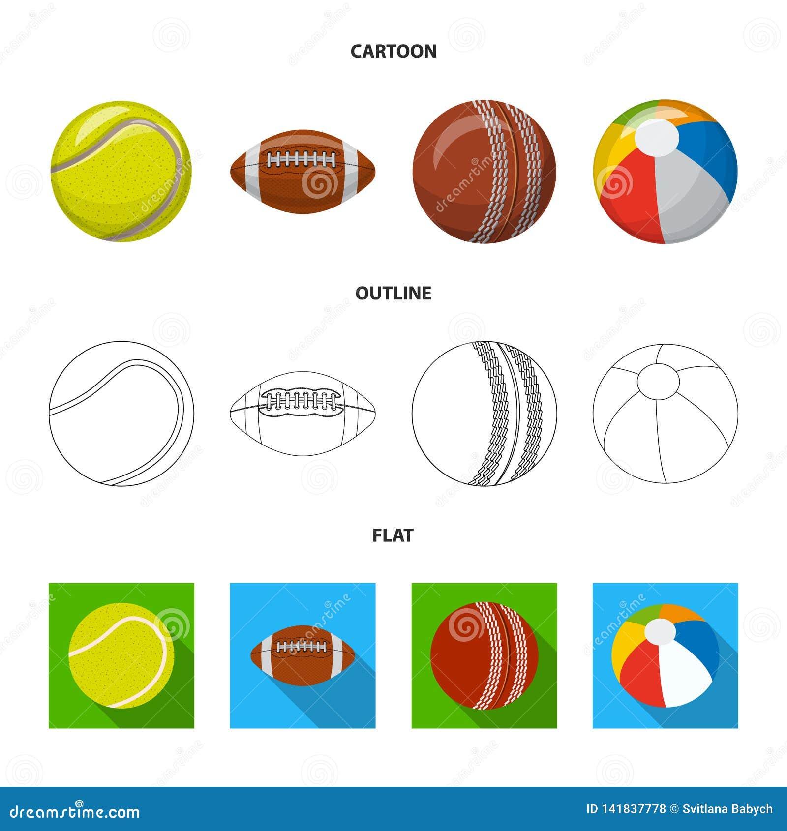 Isolerat objekt av sport- och bollsymbolen Samling av sporten och idrotts- vektorsymbol för materiel