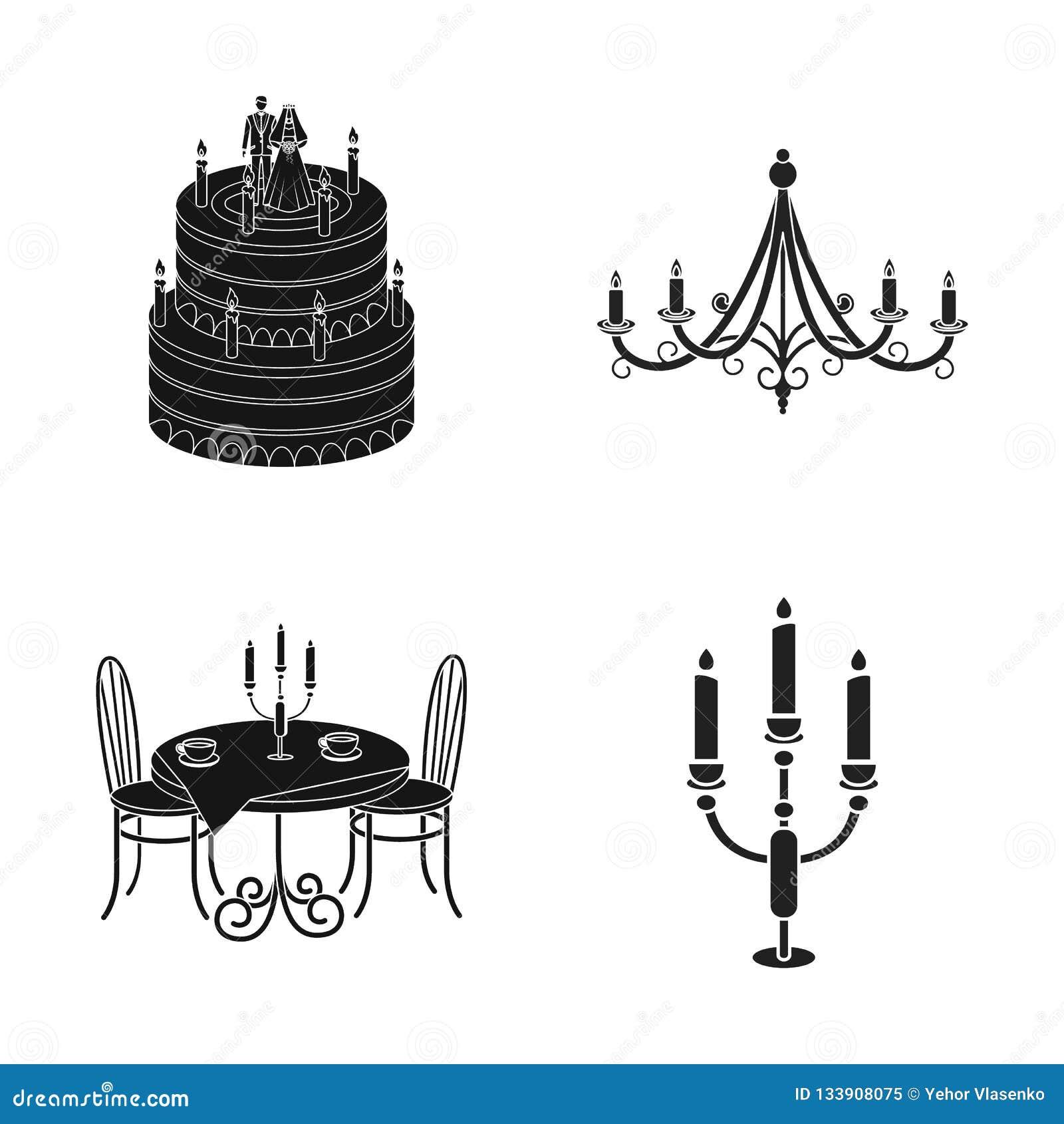Isolerat objekt av stearinljus- och ljusstakesymbolen Uppsättning av den stearinljus- och för kyrkamaterielvektor illustrationen