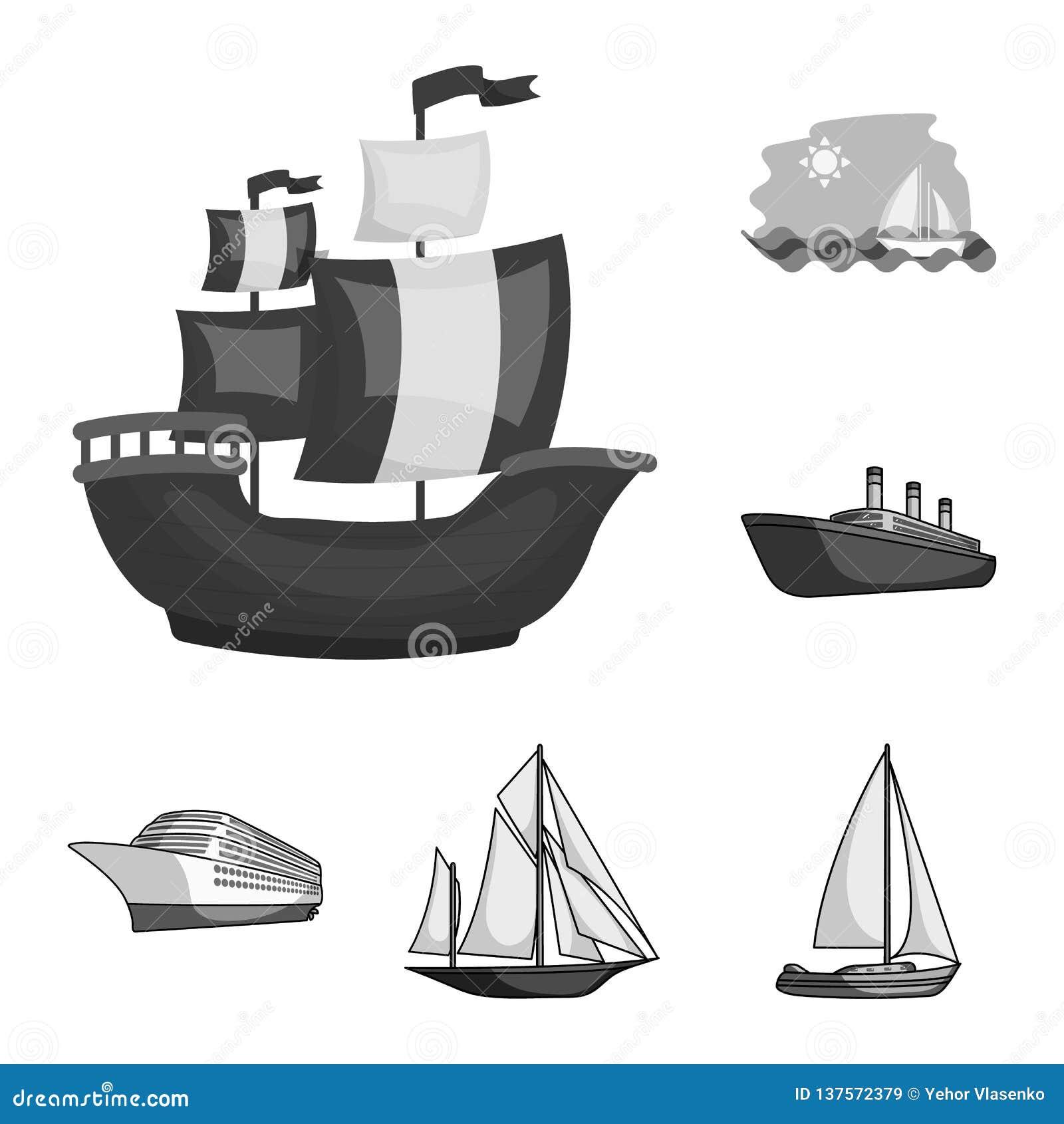 Isolerat objekt av yacht- och skeppsymbolen Ställ in av illustration för yacht- och kryssningmaterielvektor