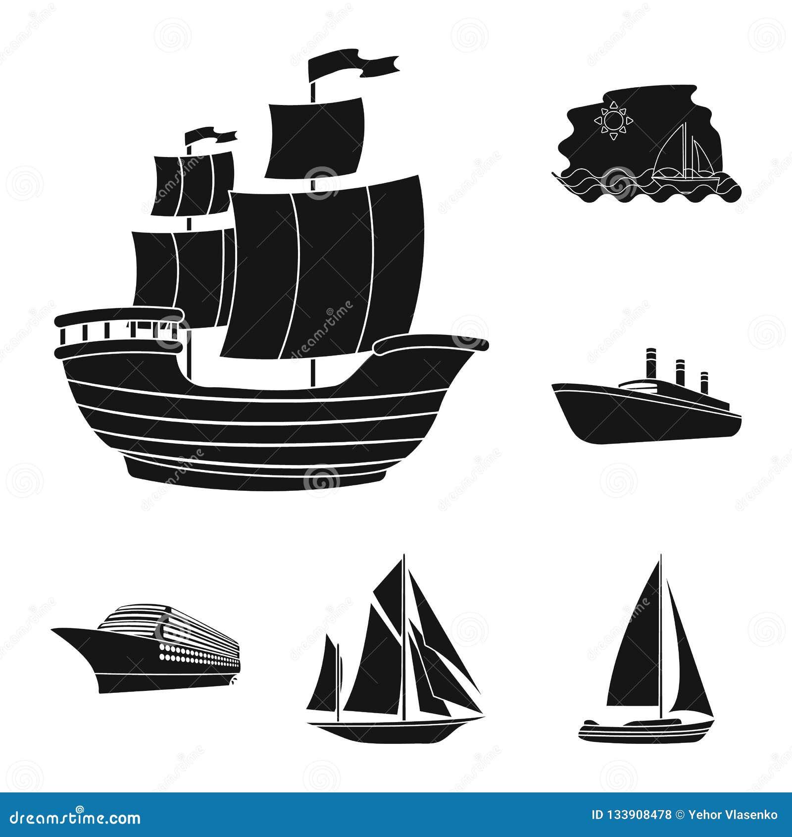 Isolerat objekt av yacht- och skepptecknet Ställ in av yacht- och kryssningvektorsymbolen för materiel