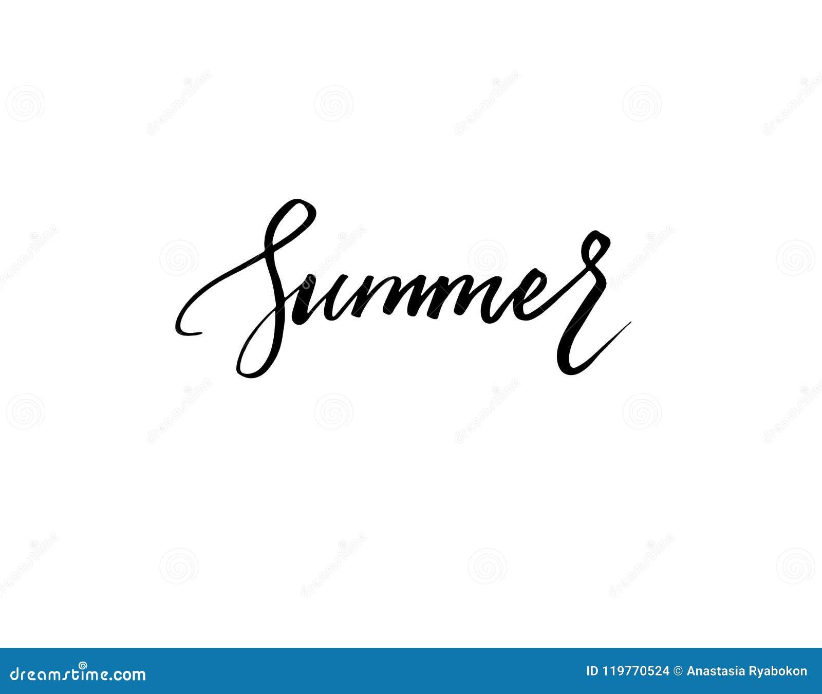 Isolerat ord för sommar bokstäver på den vita vektorn