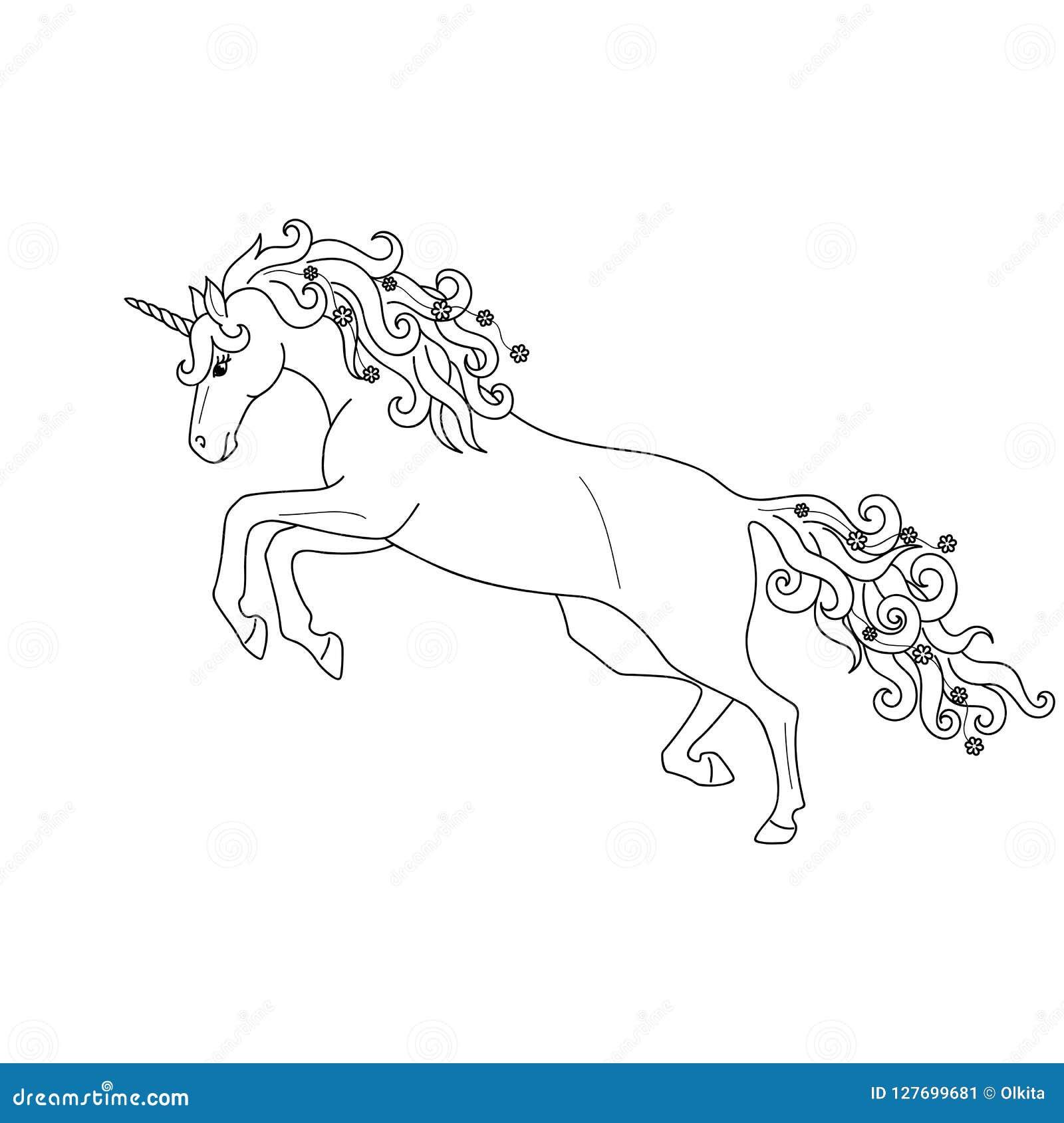 Isolerat svart galoppera för översikt som hoppar enhörningen på vit bakgrund Slapp fokus Kurvlinjer Sida av färgläggningboken