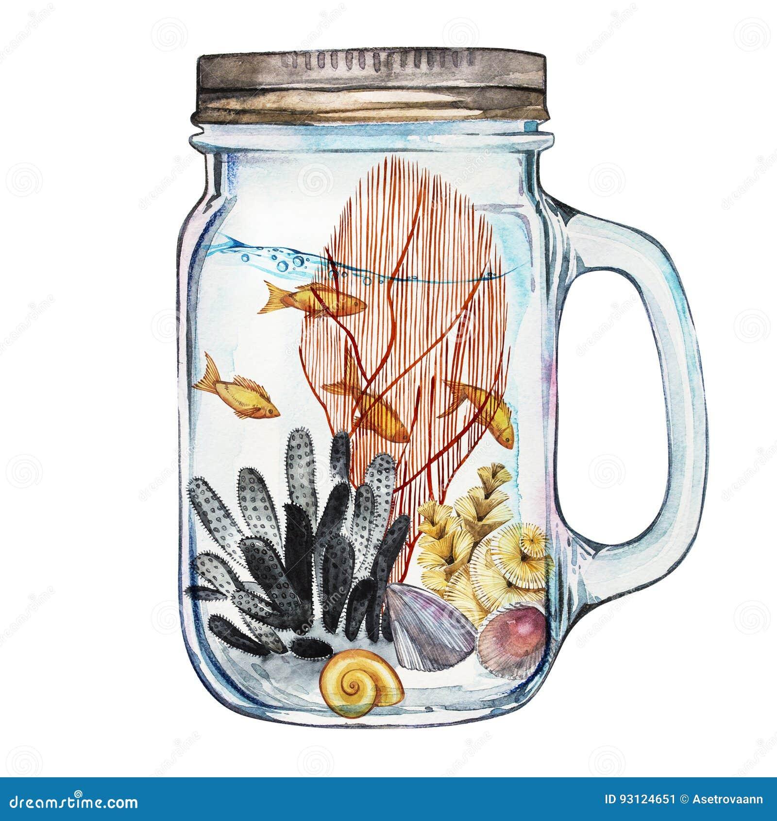 Isoleted Tumbler z Morskiego życia krajobrazem ocean i podwodny świat z różnymi mieszkanami - Akwarium
