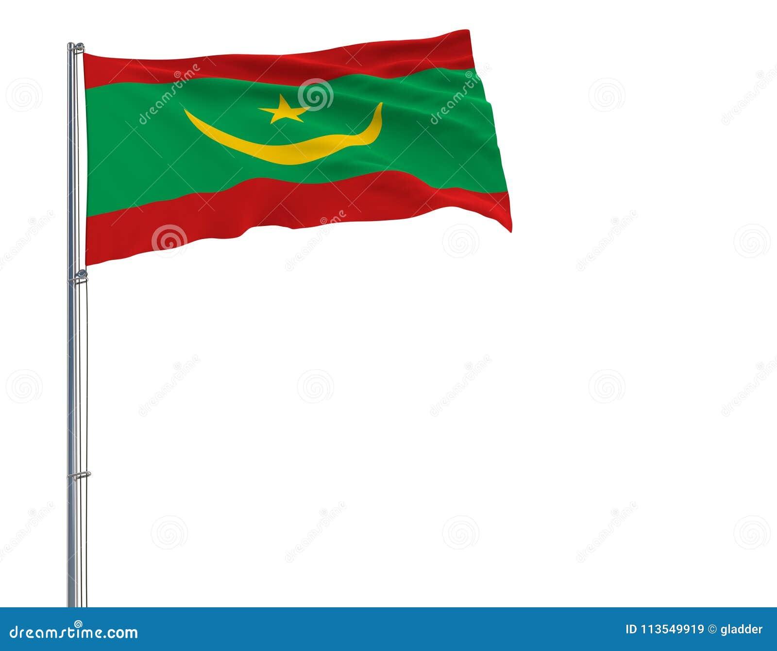isolez le drapeau de la mauritanie sur un m t de drapeau flottant dans le vent sur un fond blanc. Black Bedroom Furniture Sets. Home Design Ideas