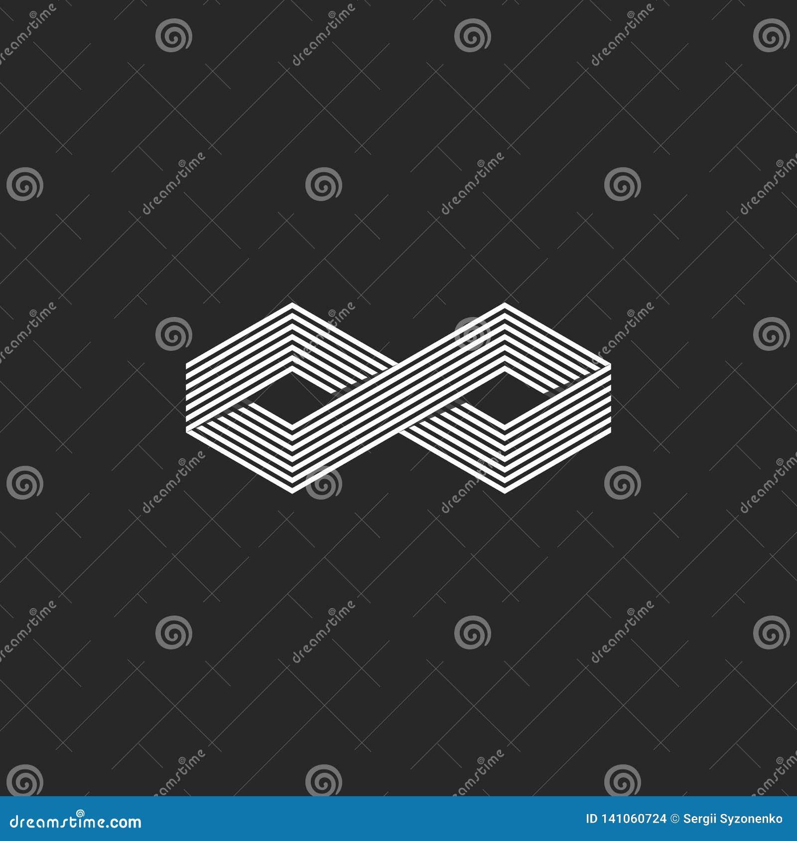 Isometric άπειρο σύμβολο λογότυπων δύο κύβων, γεωμετρική μορφή απείρου που επικαλύπτει το γραμμικό στοιχείο σχεδίου, hipster μονό