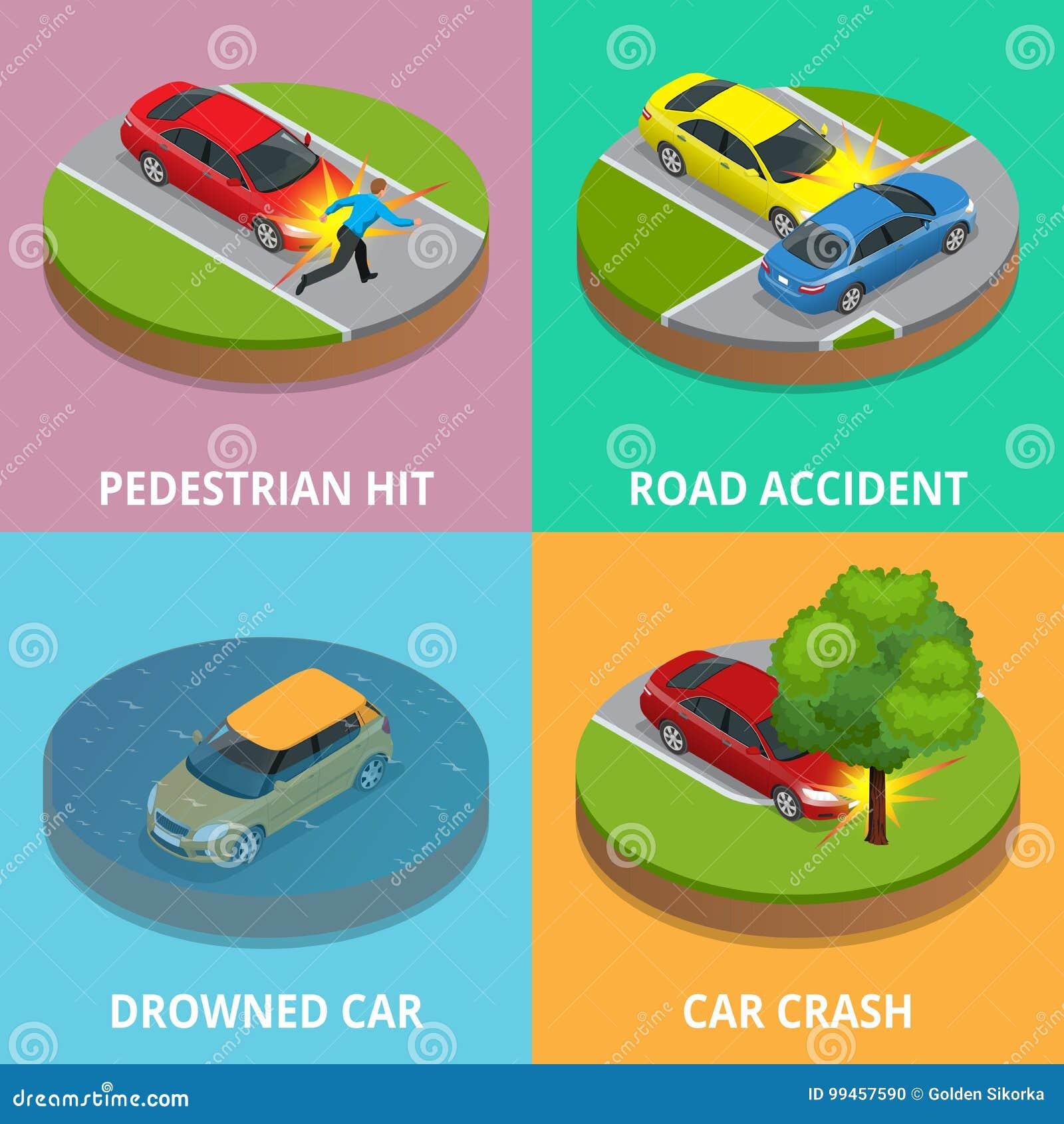 Isometric για τους πεζούς χτύπημα, τροχαίο ατύχημα, πνιμμένο αυτοκίνητο και έννοια τροχαίου ατυχήματος