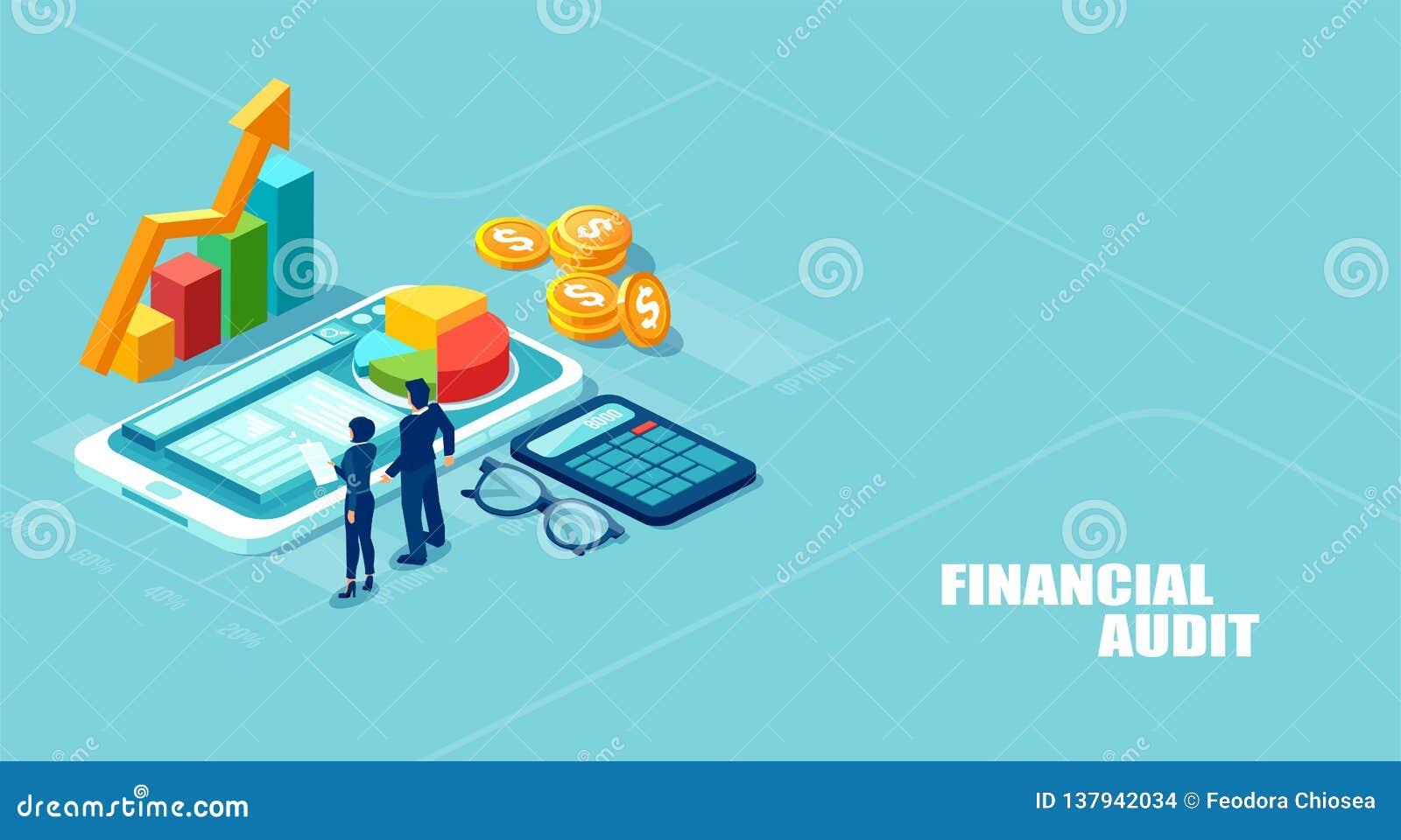 Isometric διανυσματική απεικόνιση του businesspeople που αναλύει την εταιρικά fianncial έκθεση και τα κέρδη