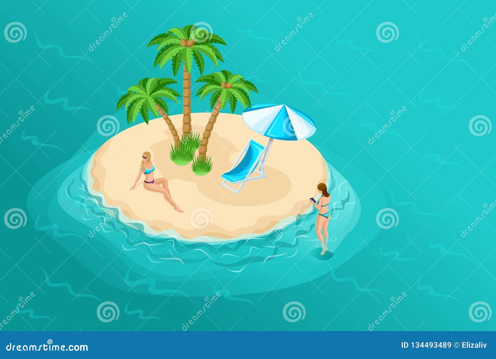 Isometric διανυσματικοί άνθρωποι κινούμενων σχεδίων, τρισδιάστατο κορίτσι σε ένα κοστούμι λουσίματος σε ένα νησί ερήμων στα μέσα