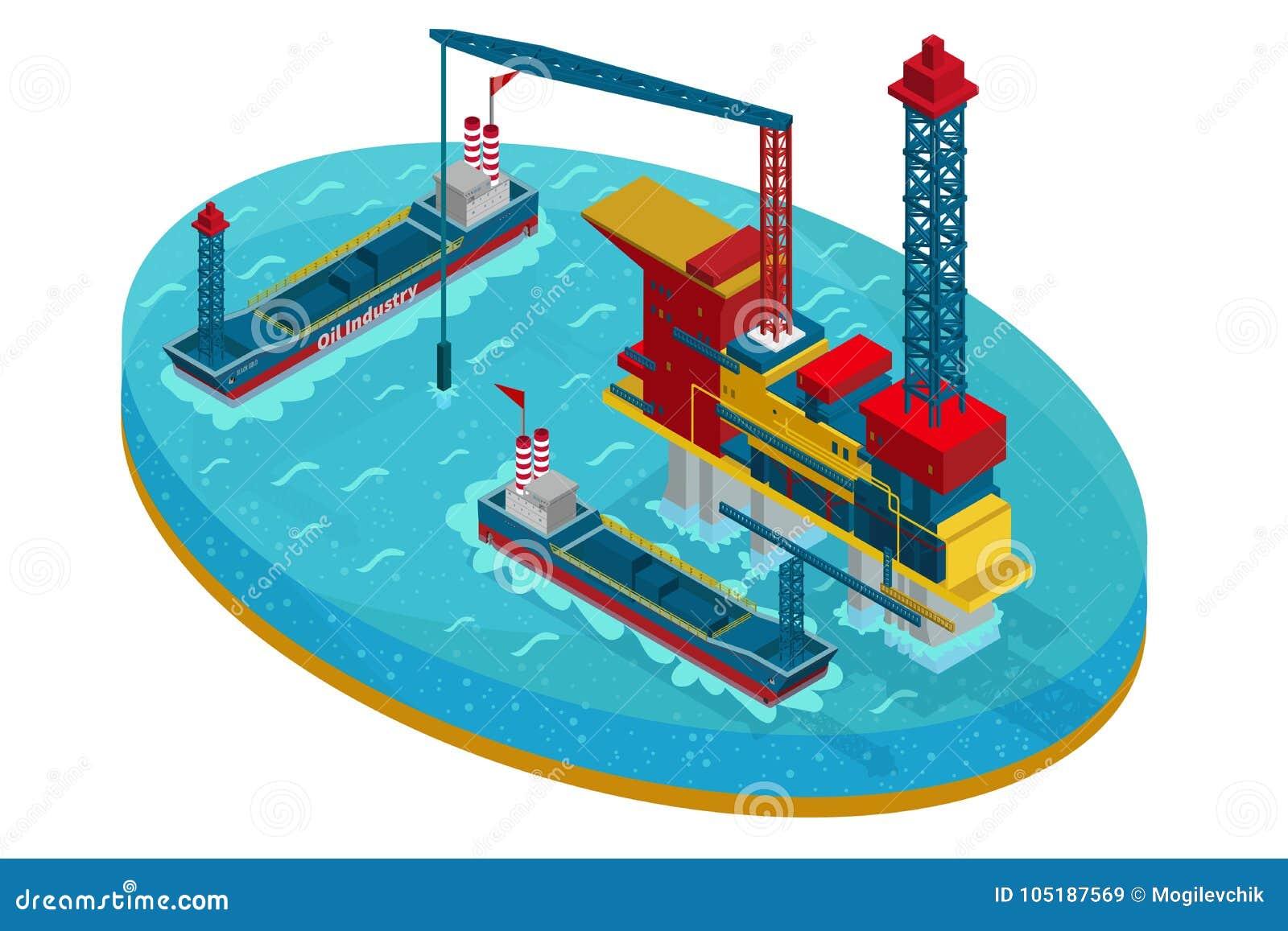 Isometric εξαγωγή πετρελαίου στην έννοια θάλασσας