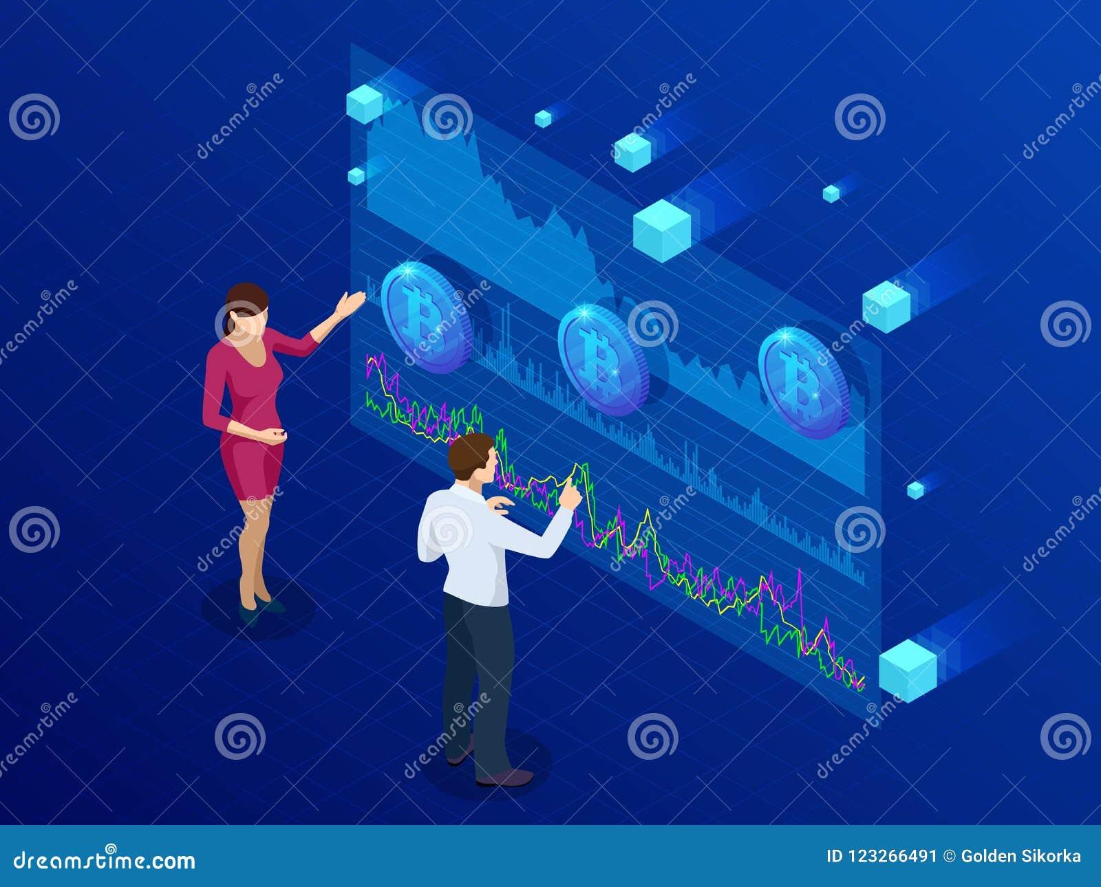 Isometric επιχειρηματίας και επιχειρηματίας που αναλύουν ένα analytics Bitcoin, ταμπλό νοημοσύνης, στοιχεία Bitcoin διαδικασιών