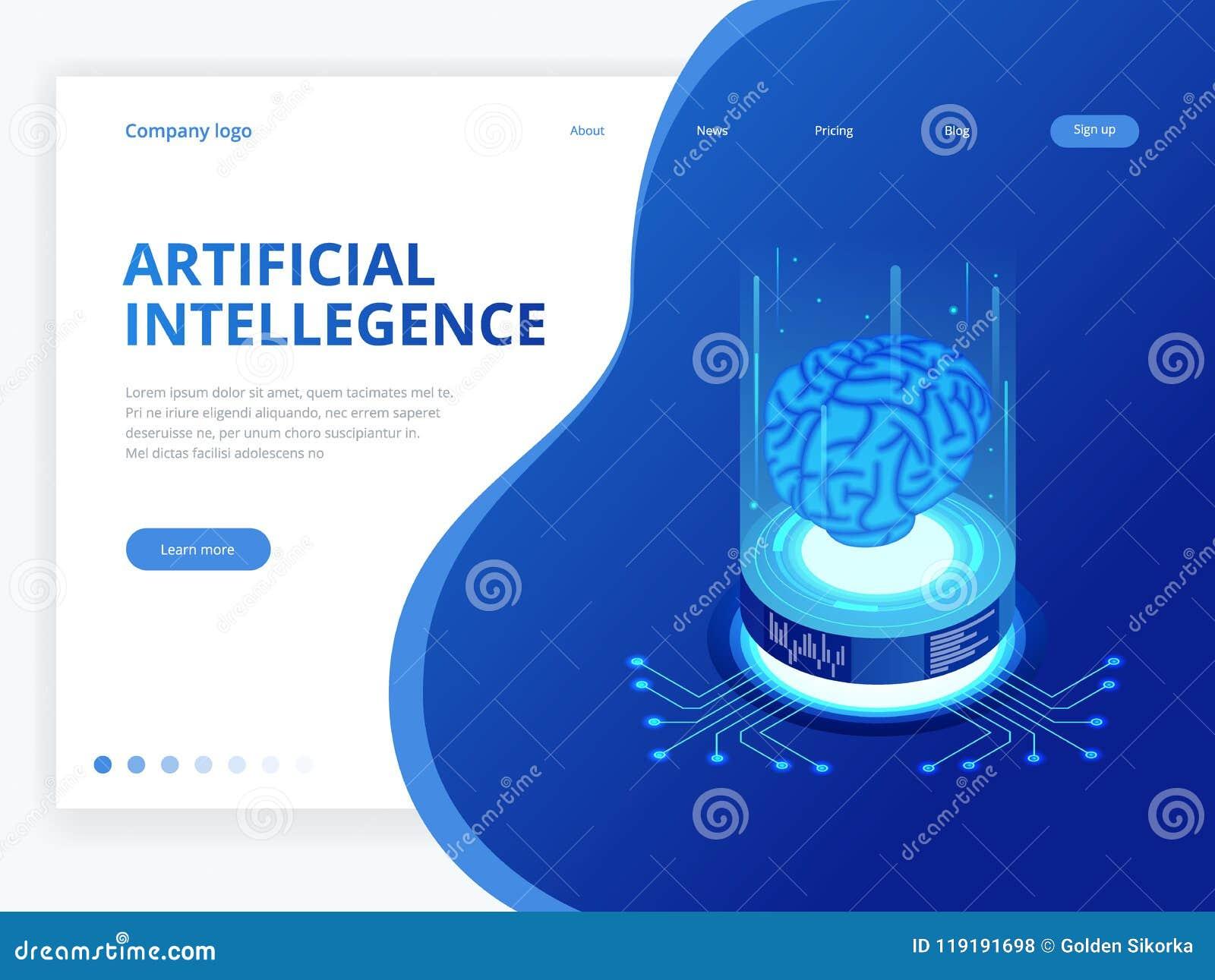 Isometric επιχειρησιακή έννοια τεχνητής νοημοσύνης Έννοια τεχνολογίας και εφαρμοσμένης μηχανικής, smartphone PC σύνδεσης στοιχείω