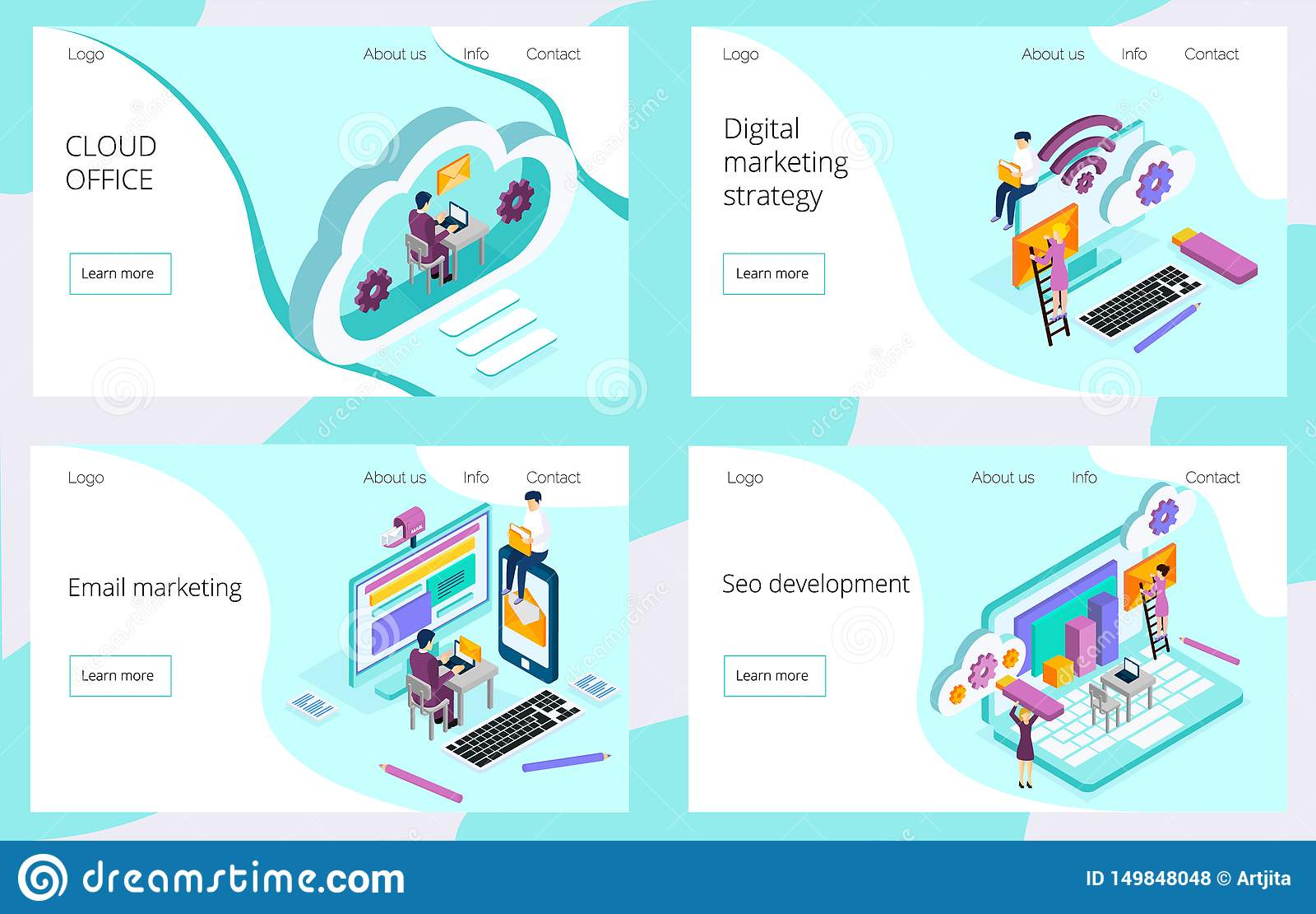 Isometric ομάδα των ειδικών που εργάζονται στην ψηφιακή προσγειωμένος σελίδα εμπορικής στρατηγικής
