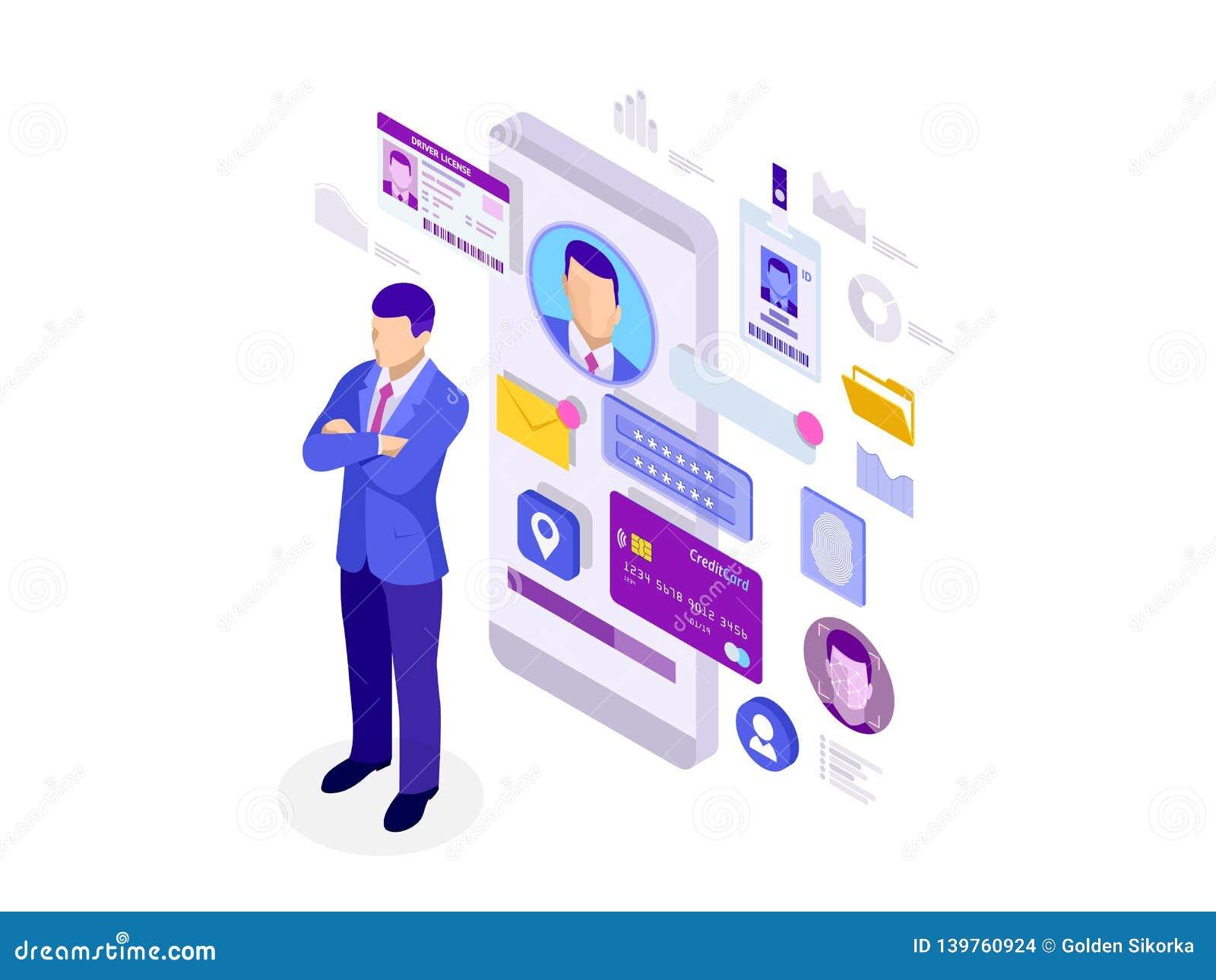 Isometric πληροφορίες App, ιδιωτική έννοια προσωπικών στοιχείων ταυτότητας Τα ψηφιακά στοιχεία εξασφαλίζουν το έμβλημα Τεχνολογία
