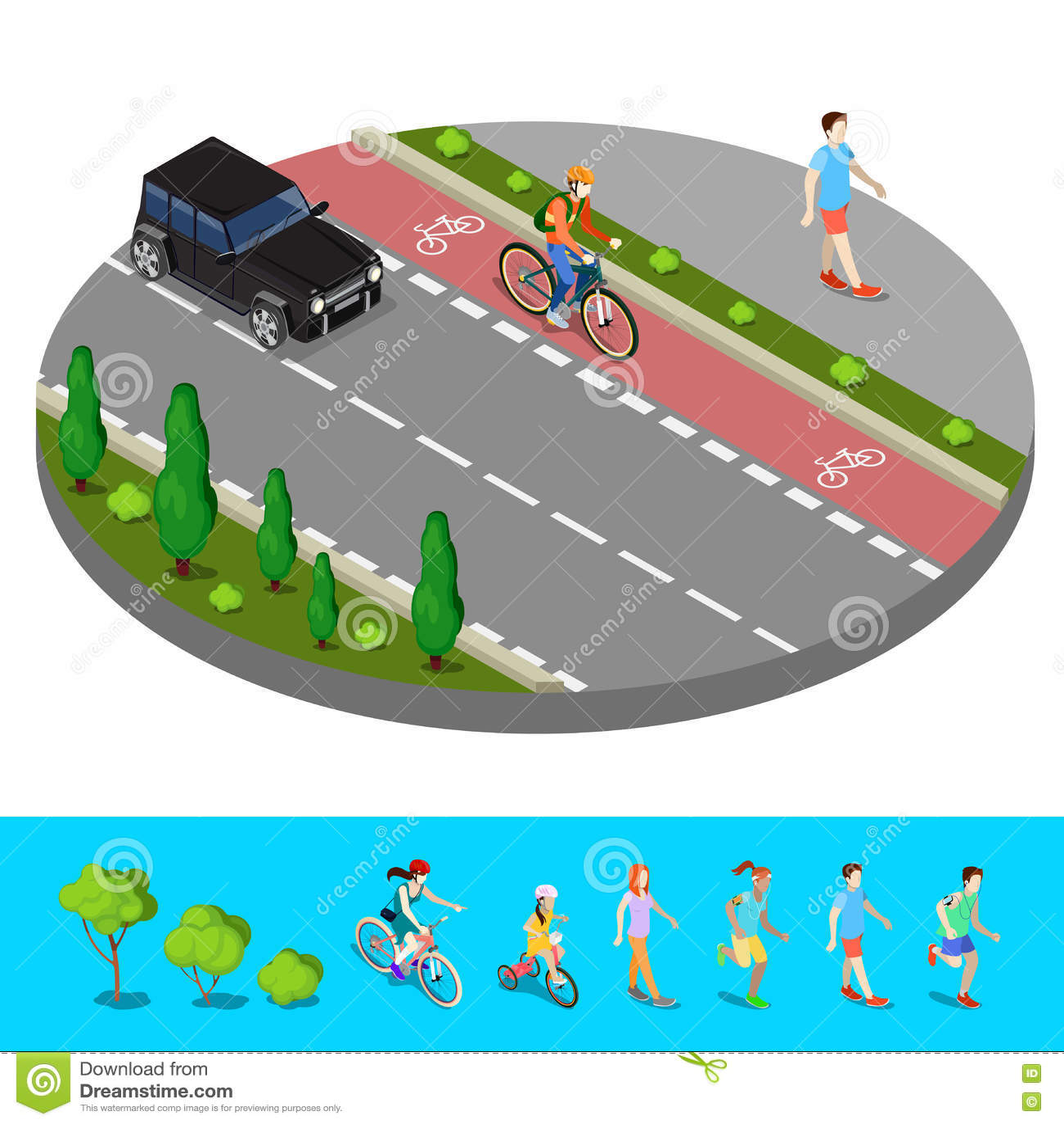 Isometric πόλη Πορεία ποδηλάτων με το μονοπάτι Bicyclist με το περπατώντας άτομο