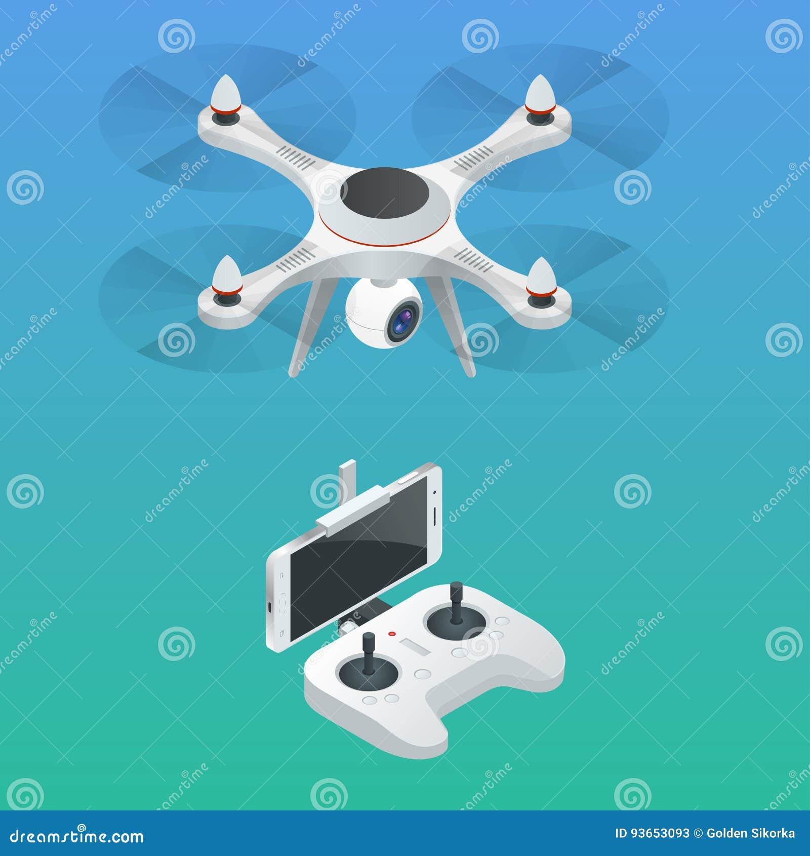Isometric ραδιο-ελεγχόμενος κηφήνας Εξοπλισμός βίντεο και φωτογραφίας καινοτομίας επίσης corel σύρετε το διάνυσμα απεικόνισης